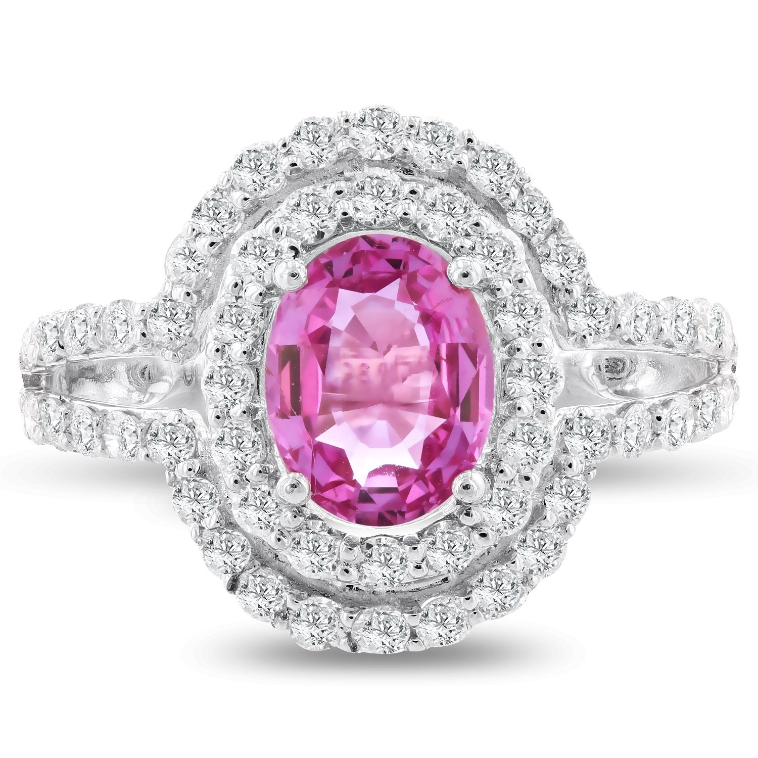 Auriya Platinum Certified 1 3/8 Oval-Cut Pink Sapphire and 1ct TDW ...