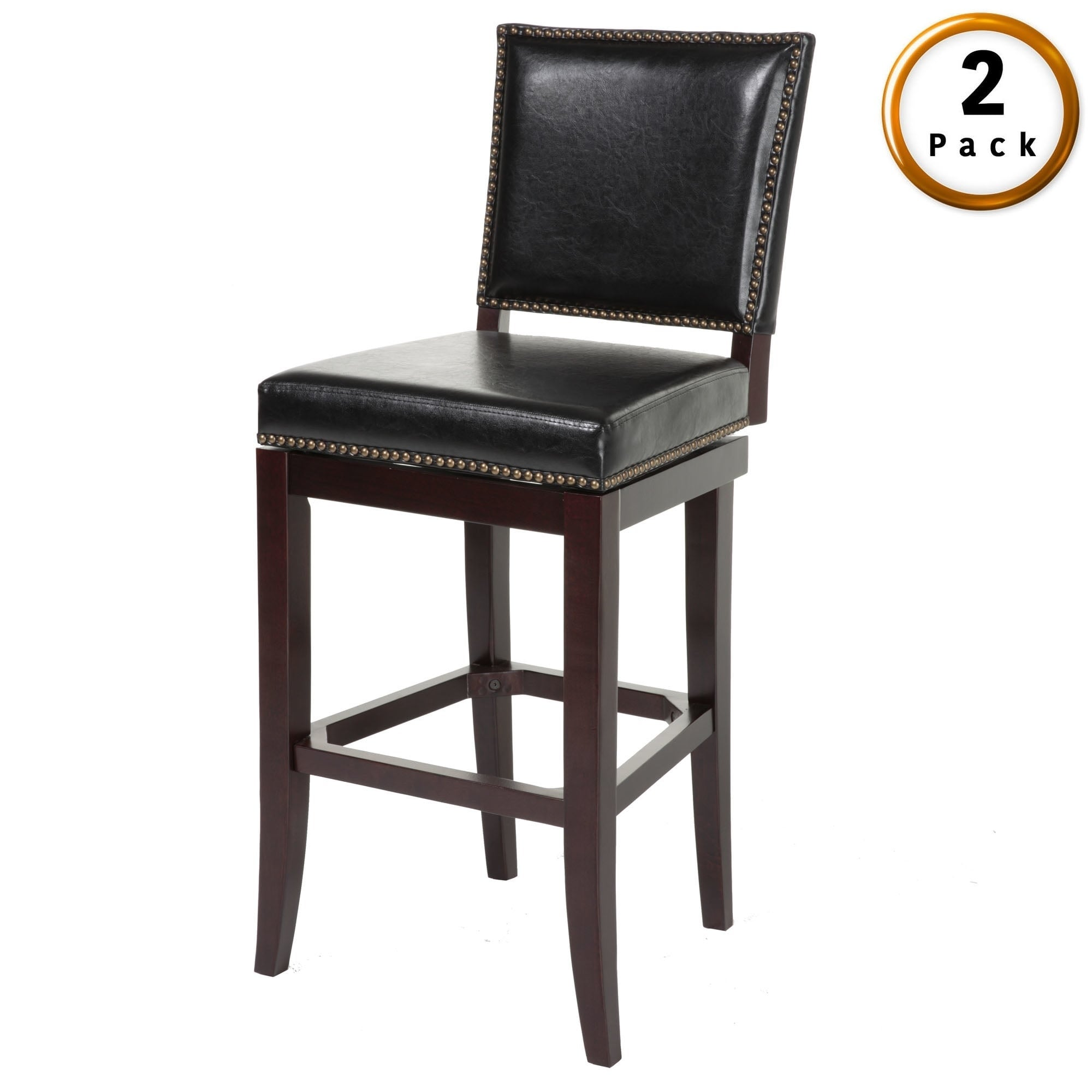 Shop sacramento wood bar or counter stool with padded swivel seat 2 pack on sale free shipping today overstock com 18125975