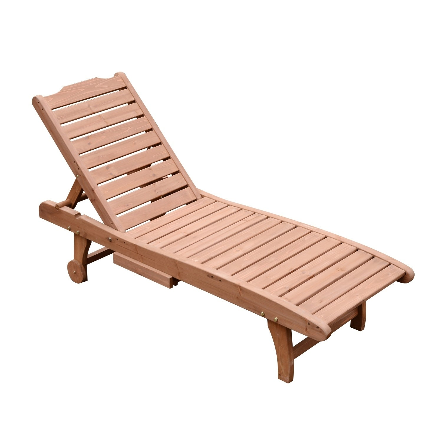 Shop Outsunny Wooden Outdoor Chaise Lounge Patio Pool Chair W Pull