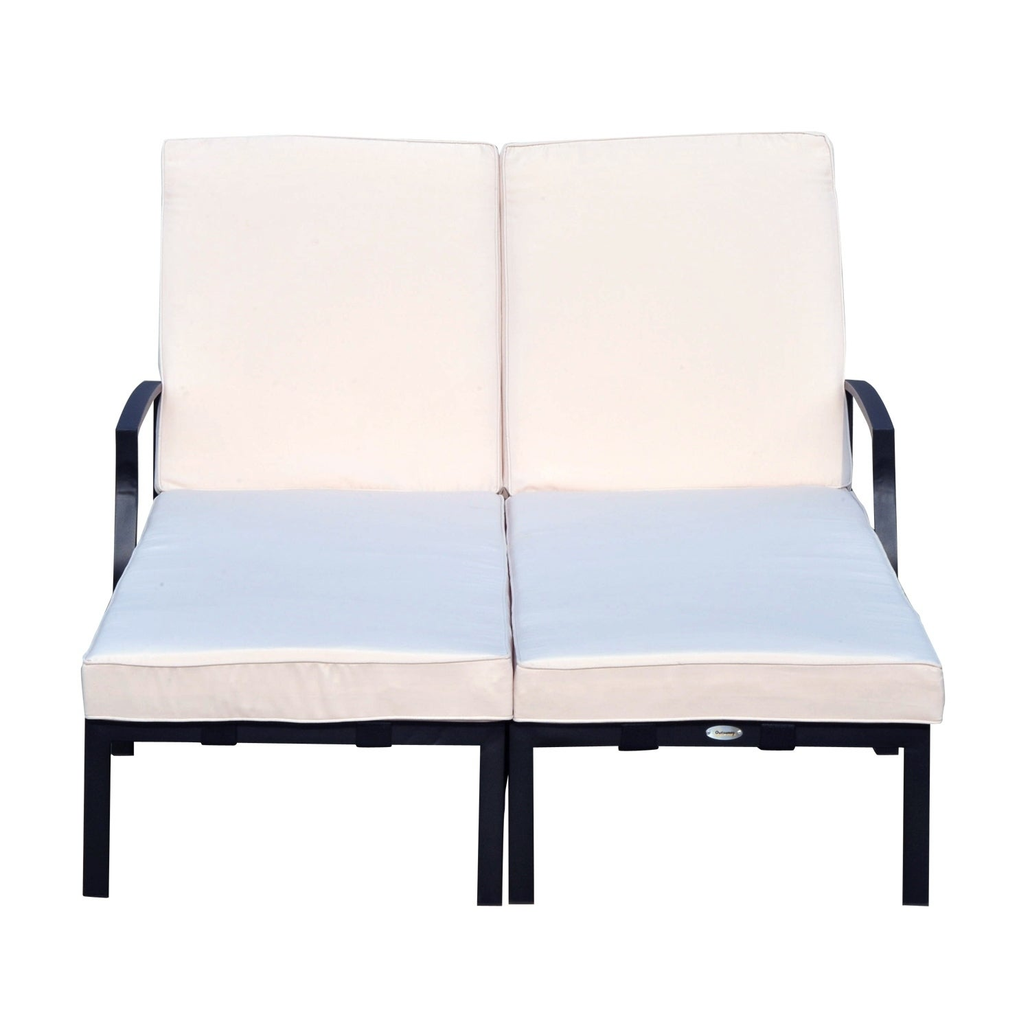 Outsunny 74 Reclining Outdoor Double Lounge Chair Cream Black Free Shipping Today 18126451