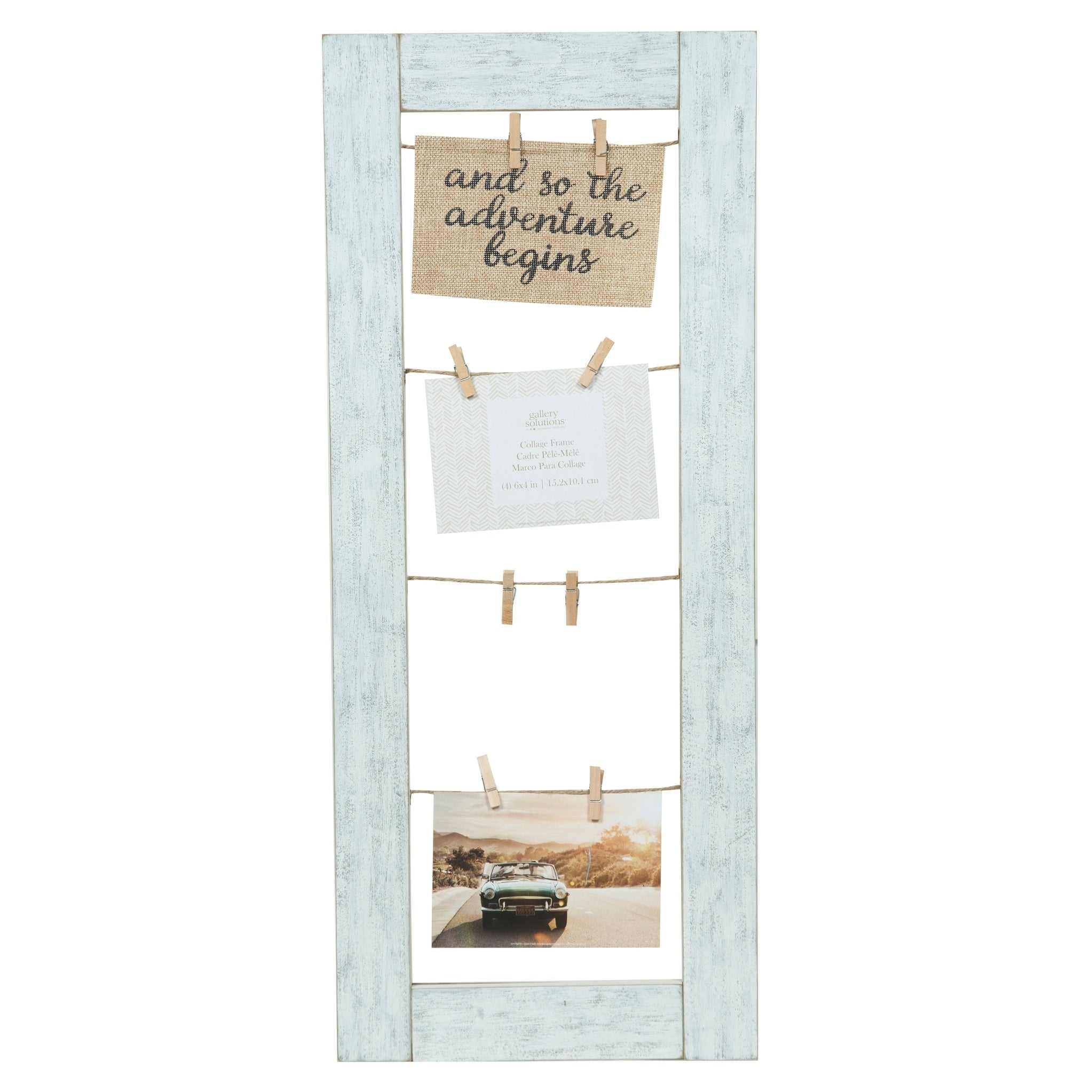 Shop 11x26 Collage Whitewash Clip Picture Frame - Free Shipping On ...