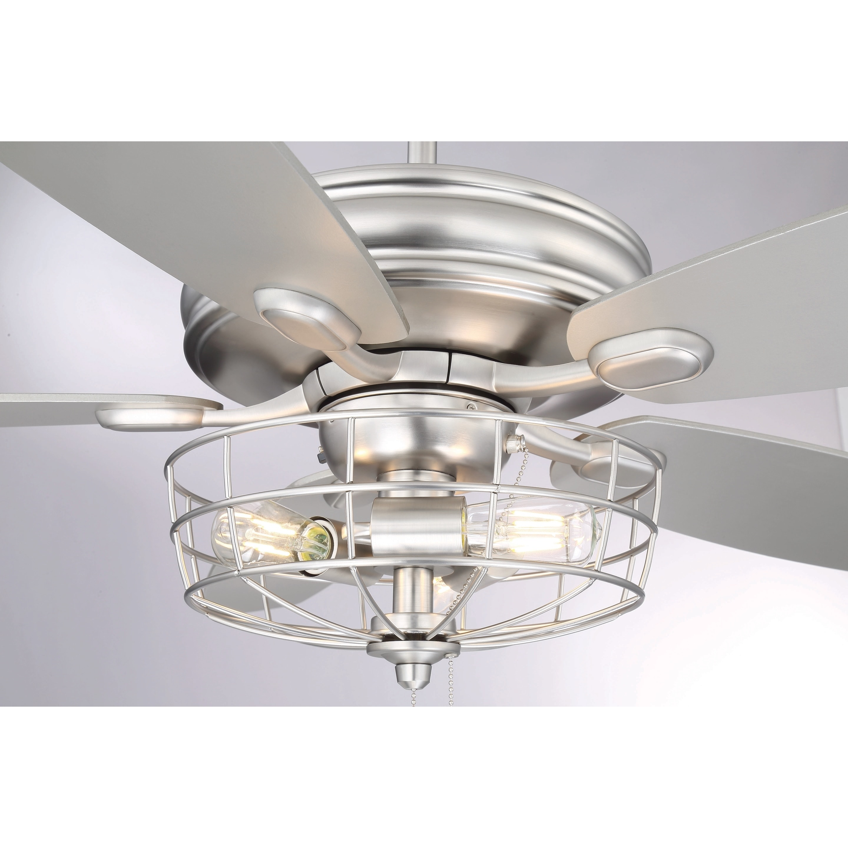 Shop 52 In 3 Light Brushed Nickel Ceiling Fan With Metal Wire Cage Wiring For Silver Free Shipping Today 18127615