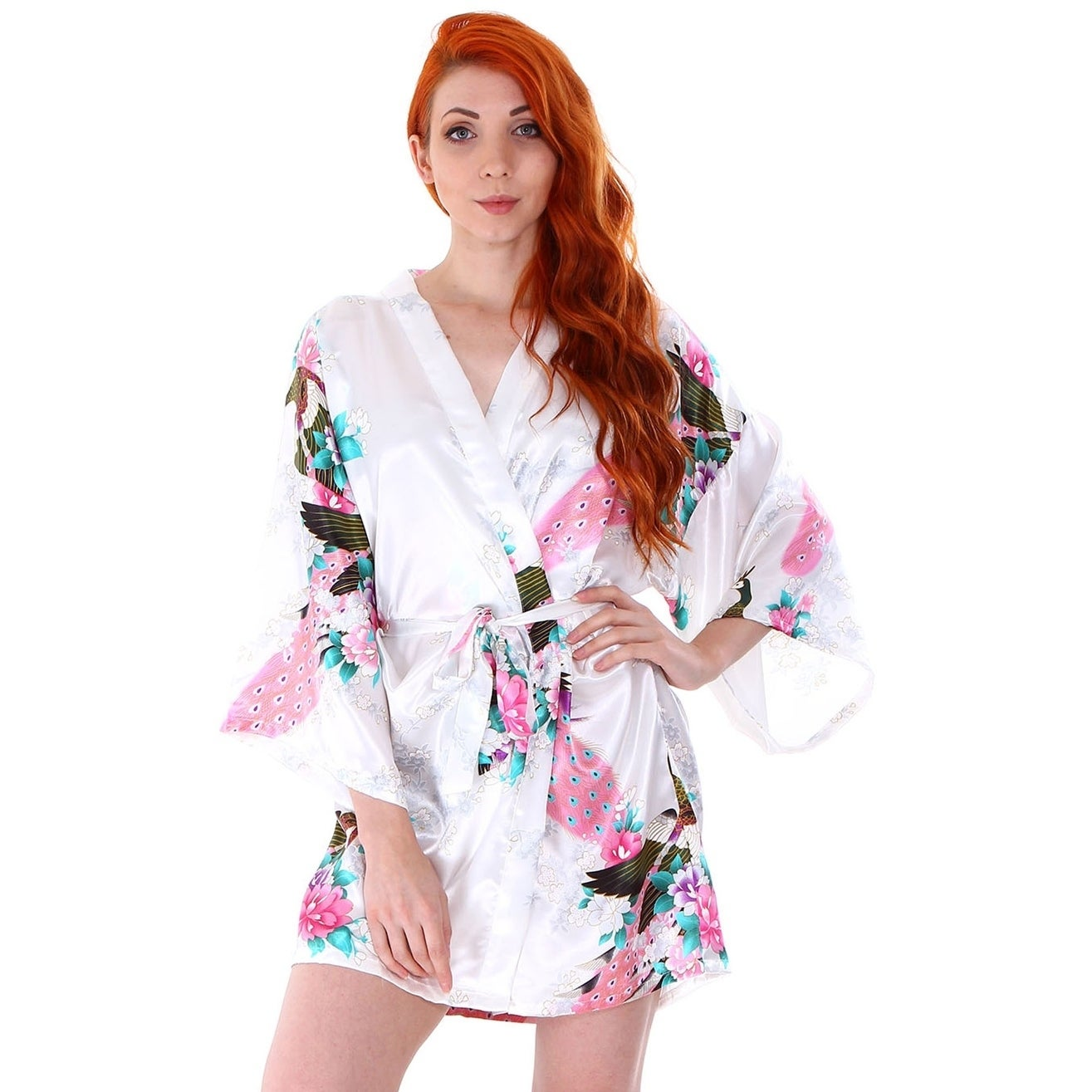 fb5b31df0 Shop Women's Peacock and Blossoms Printed Silk Satin Kimono Short Robe - On  Sale - Free Shipping On Orders Over $45 - Overstock - 18128561