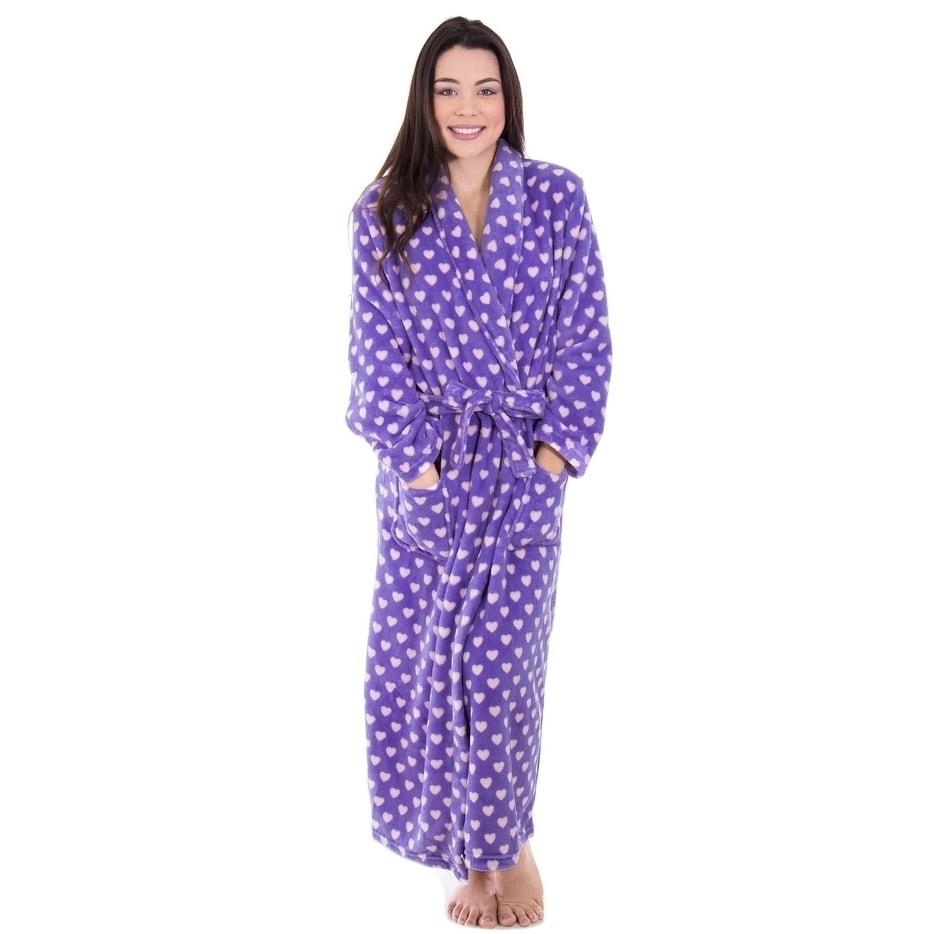 Shop Women s Fleece Plush Wrap Kimono Robe Bathrobe with Pockets - Free  Shipping Today - Overstock - 18128570 cb959d2e2