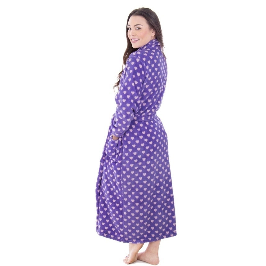 bfaa674d9e Shop Women s Fleece Plush Wrap Kimono Robe Bathrobe with Pockets - Free  Shipping Today - Overstock - 18128570