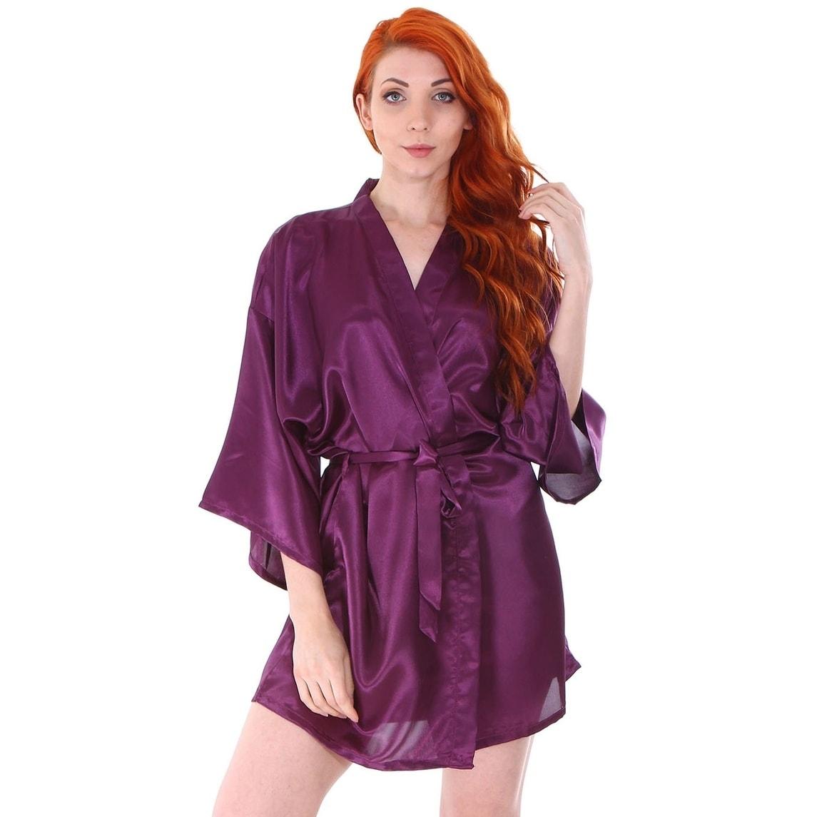 4eede6d82d21 Shop Women s Silk Satin Short Lingerie Bridal Kimono Robe - On Sale ...