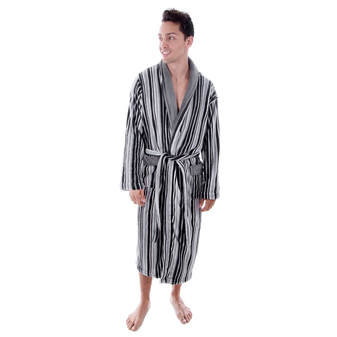 Shop Men s Hotel Fleece Terry Pocketed Bathrobe with Hood - On Sale - Free  Shipping Today - Overstock - 18128578 ccfa46c3c