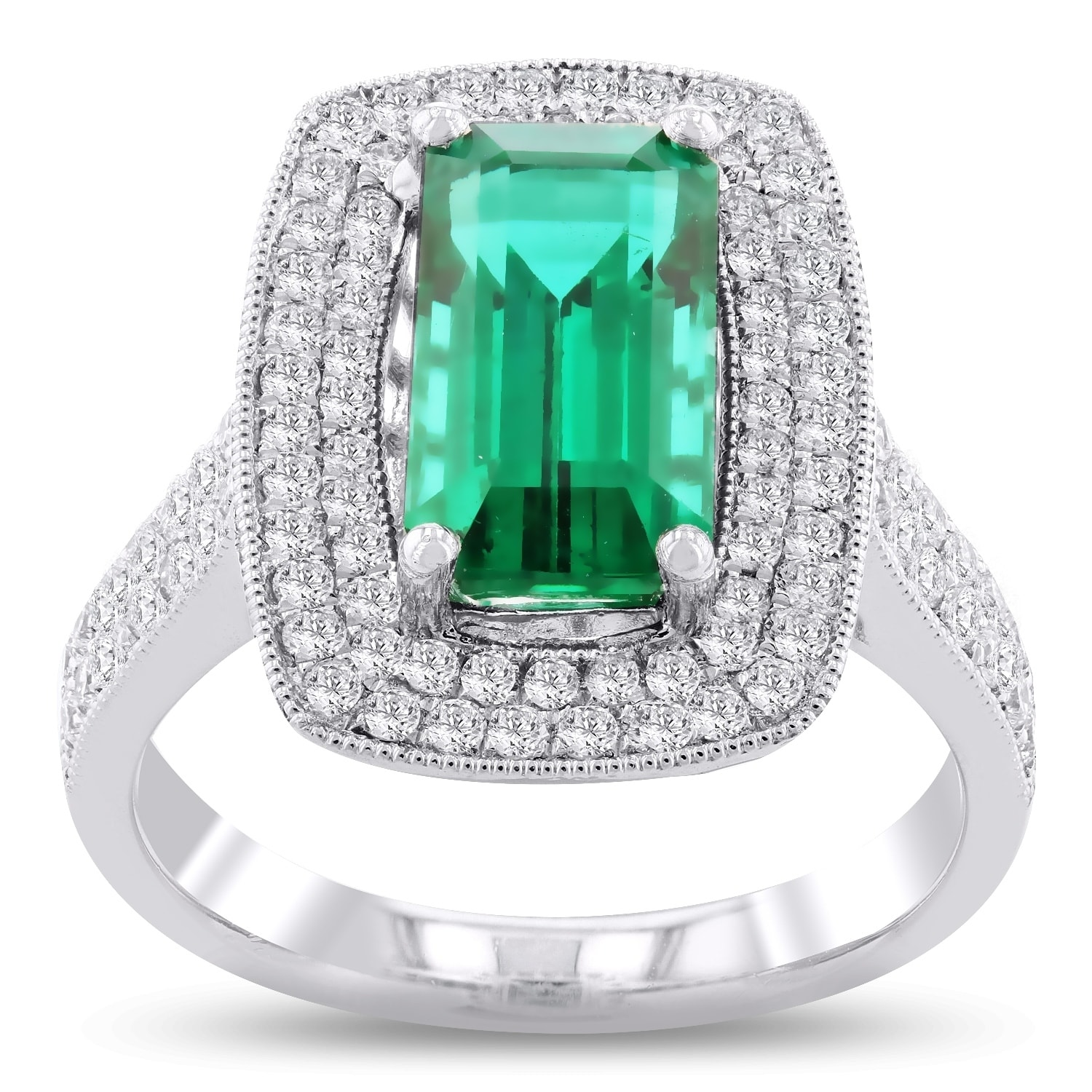 wholesale emerald engagement diamond custom ring gold and stone product