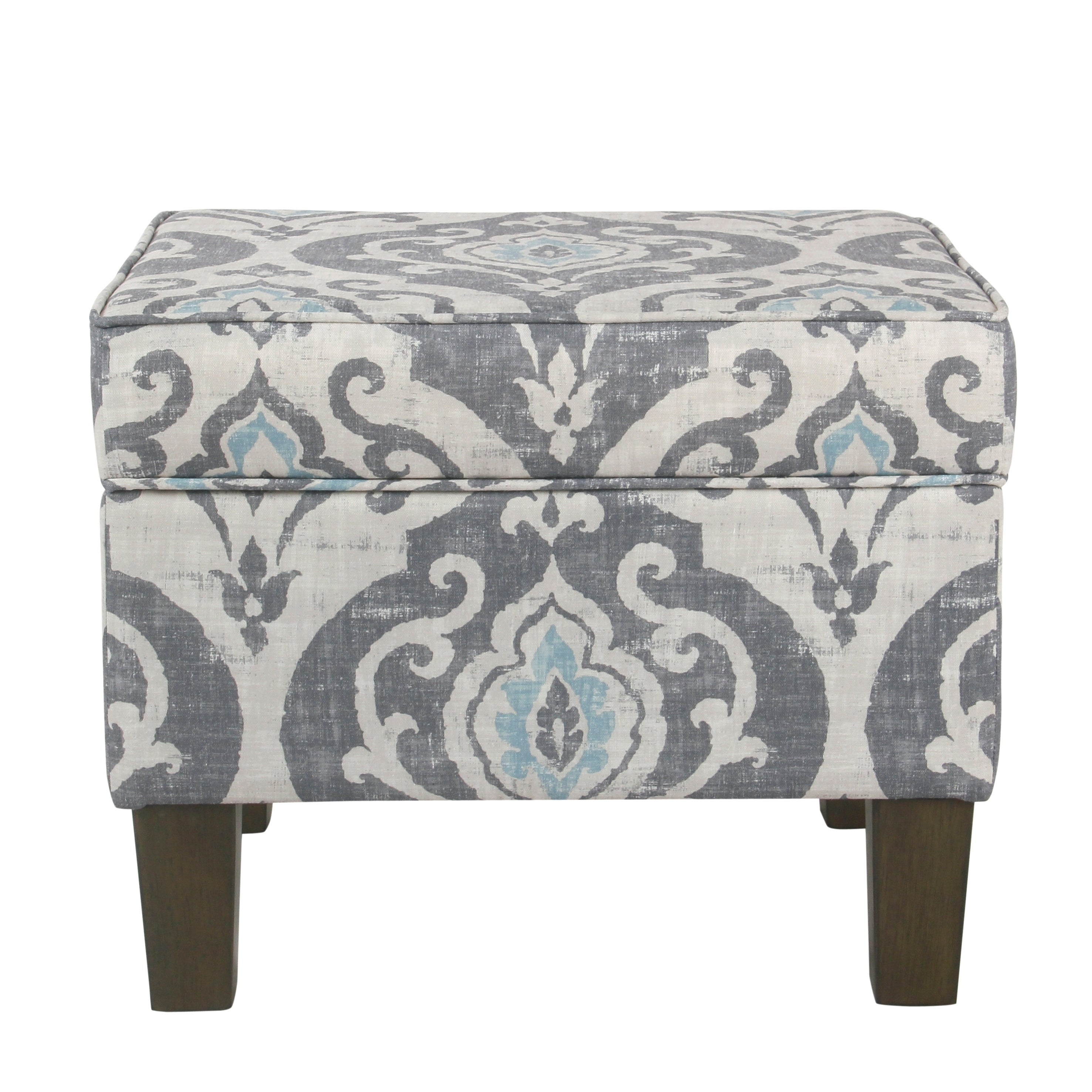 Exceptional Shop HomePop Suri Storage Ottoman   Blue Slate   On Sale   Free Shipping  Today   Overstock.com   18128672