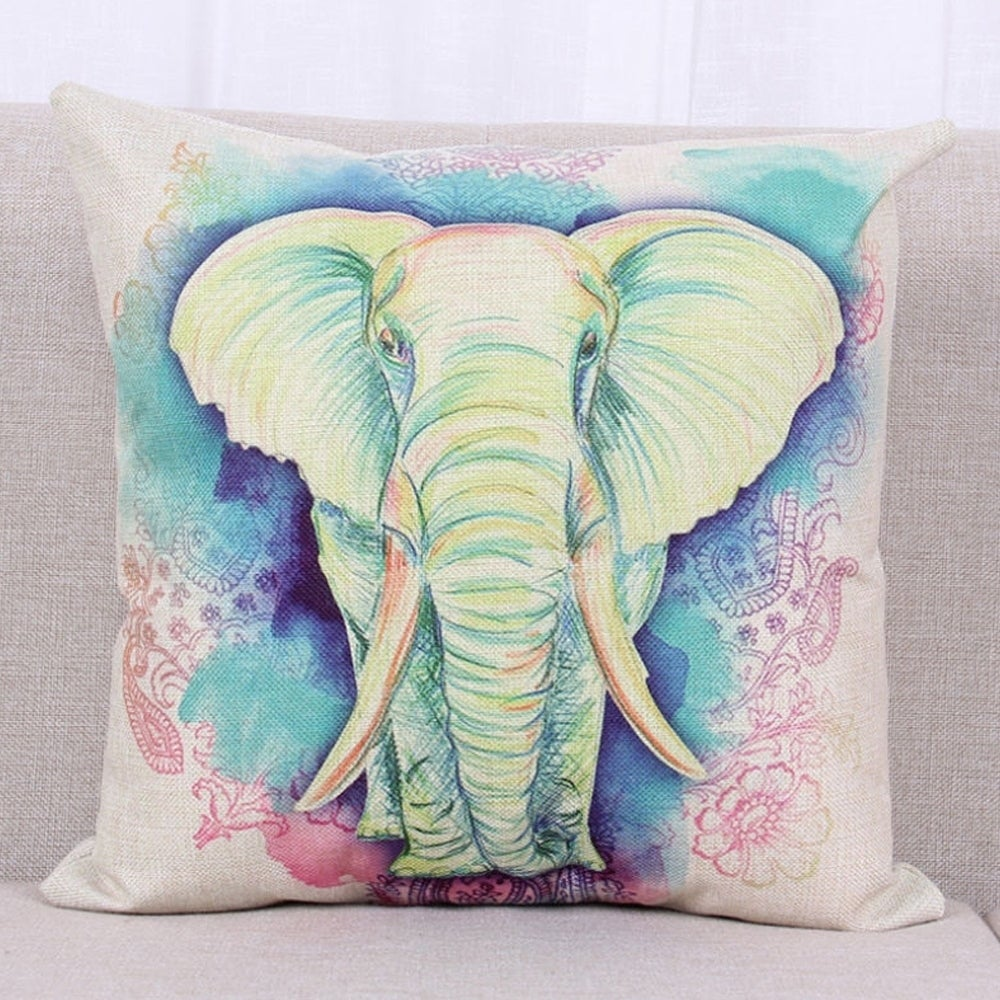 Shop Cotton Linen Throw Pillow Cover Cushion Cover Elephant 18x18 ...