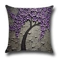 Cotton Linen Throw Pillow Cover  Cushion Cover Purple Jasmine Tree 18x18