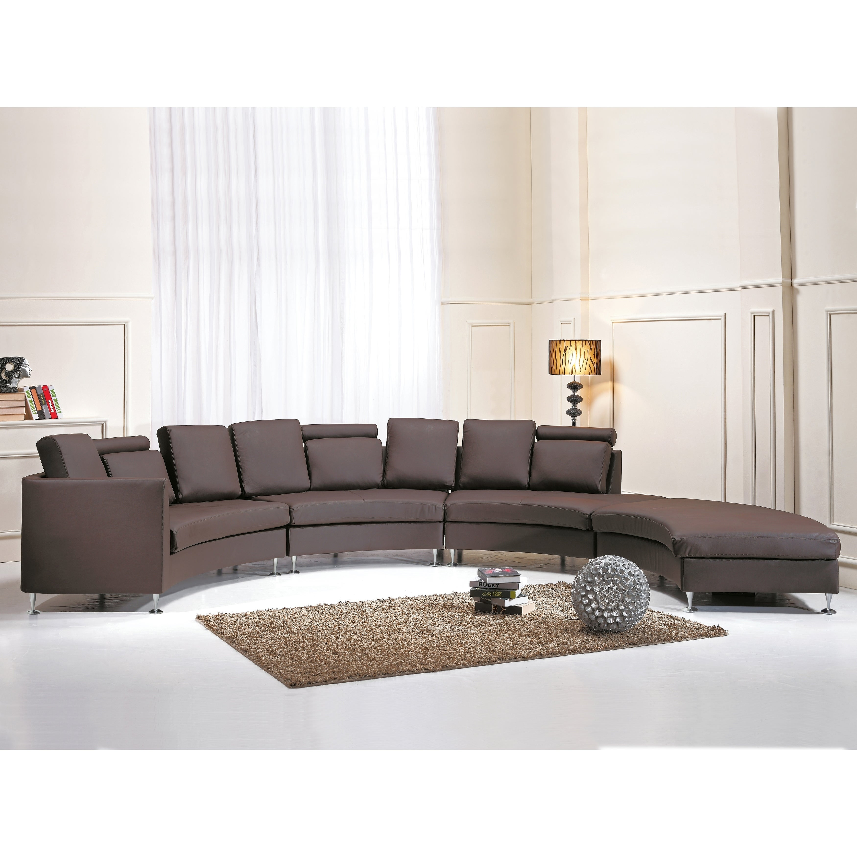 Shop Curved Sectional Sofa - Brown Leather ROTUNDE - Free Shipping ...