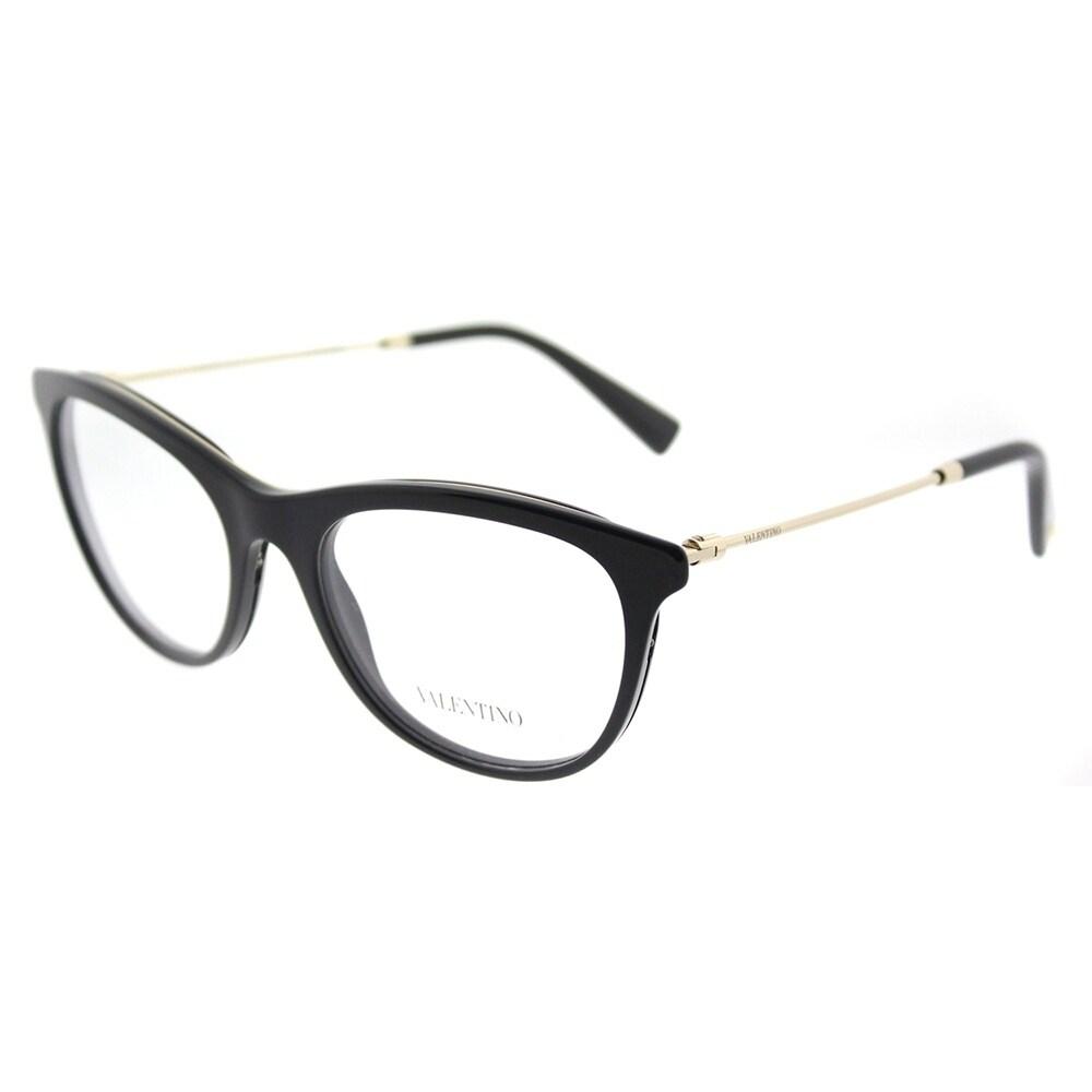 Shop Valentino Oval VA 1006 3003 Womens Black Light Gold Frame ...