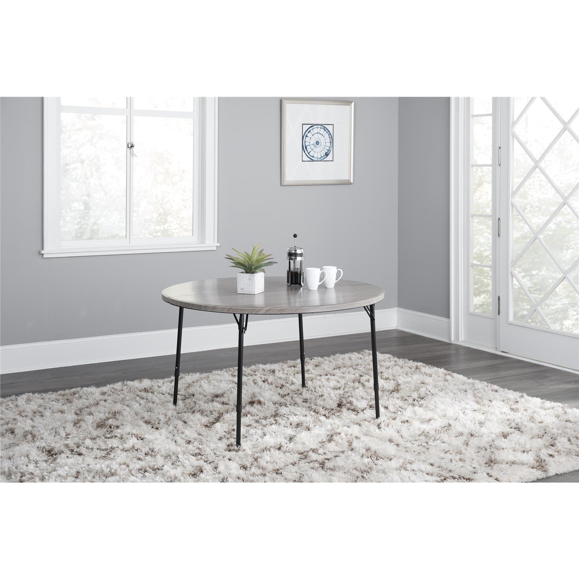 COSCO Grey 48 Inch Round Fold In Half Table   Free Shipping Today    Overstock.com   24284738