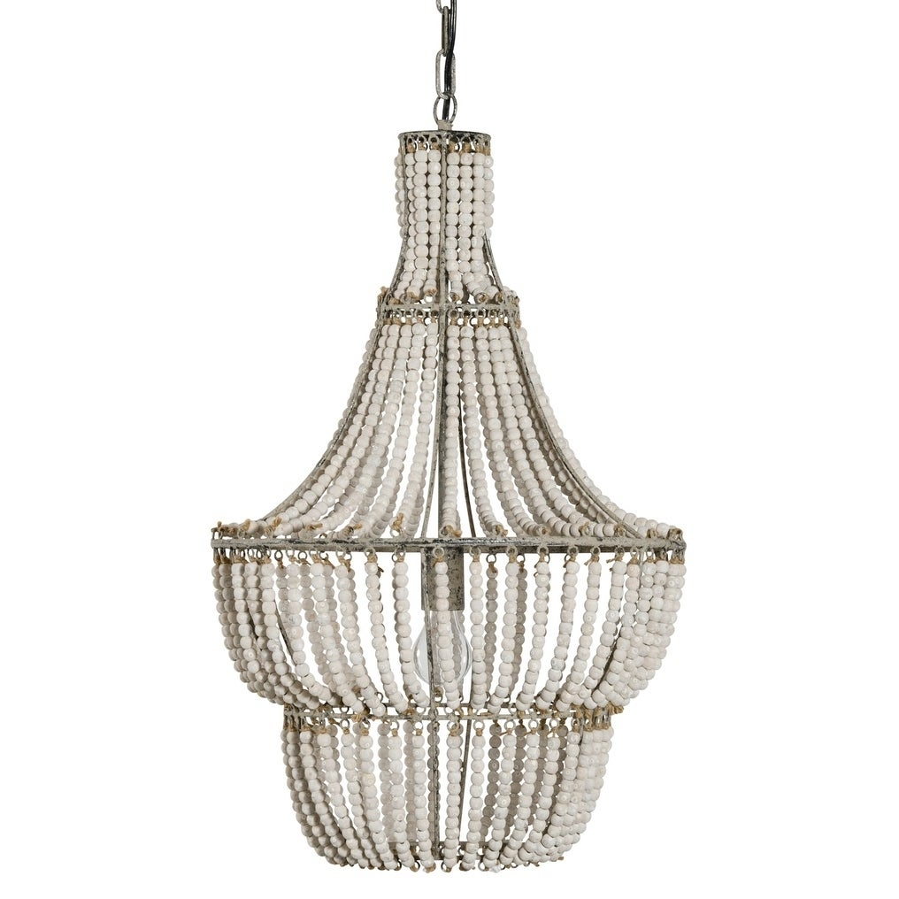 Natural white beaded chandelier free shipping today overstock natural white beaded chandelier free shipping today overstock 24287585 arubaitofo Image collections