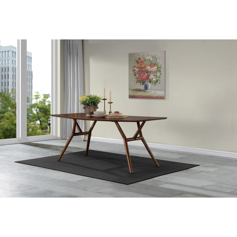Handy living georgetown dark walnut finish wood rectangular dining table walnut