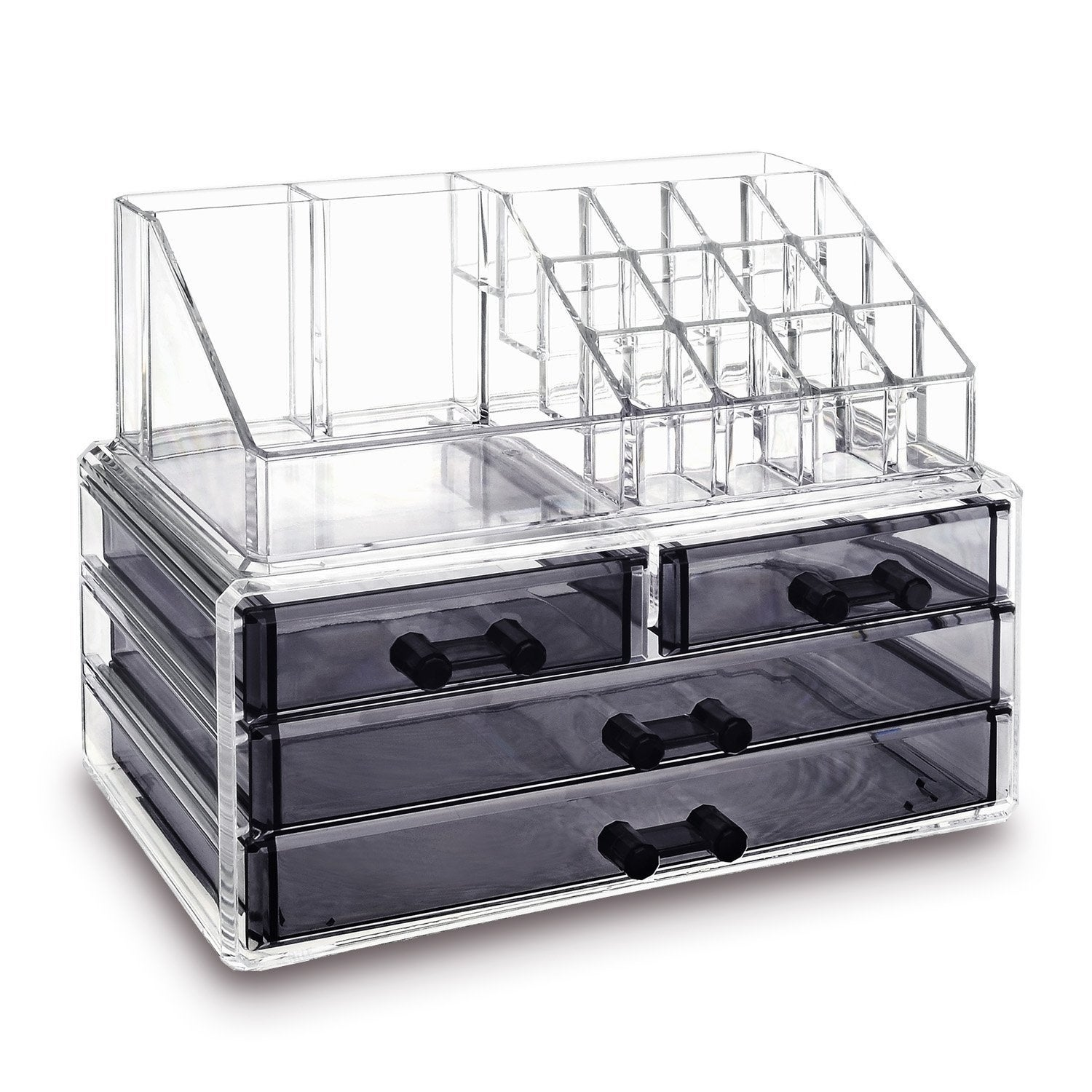 Ikee Design Jewelry And Makeup Organizer Two Pieces Set, Clear