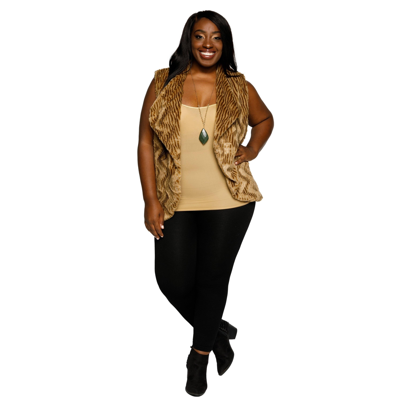 1188208aaa540 Shop Xehar Womens Plus Size Faux Fur Chevron Sleeveless Sweater Vest ...
