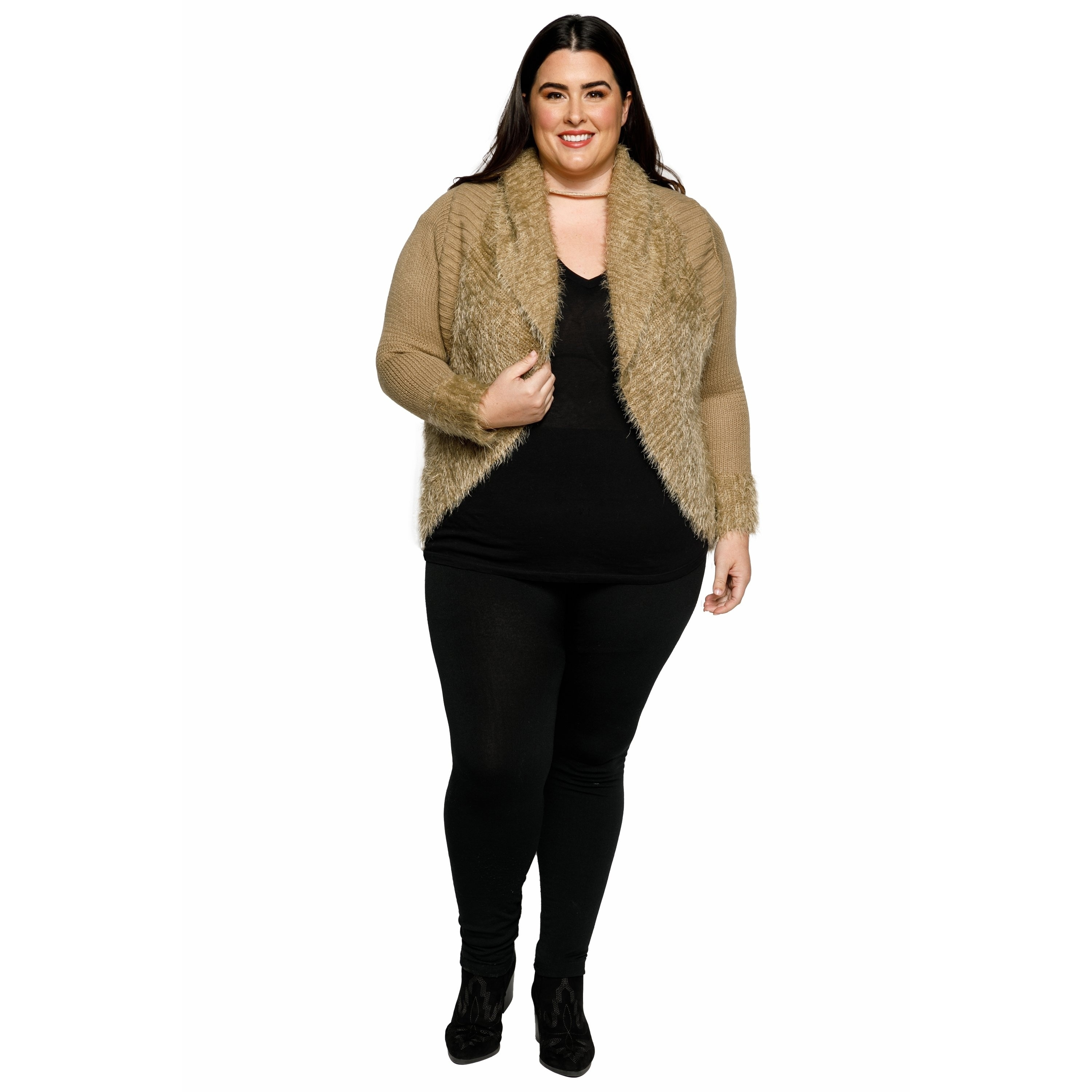 10030574b3d76 Shop Xehar Womens Plus Size Fuzzy Cocoon Open Front Cardigan Sweater - Free  Shipping On Orders Over  45 - Overstock.com - 18150703