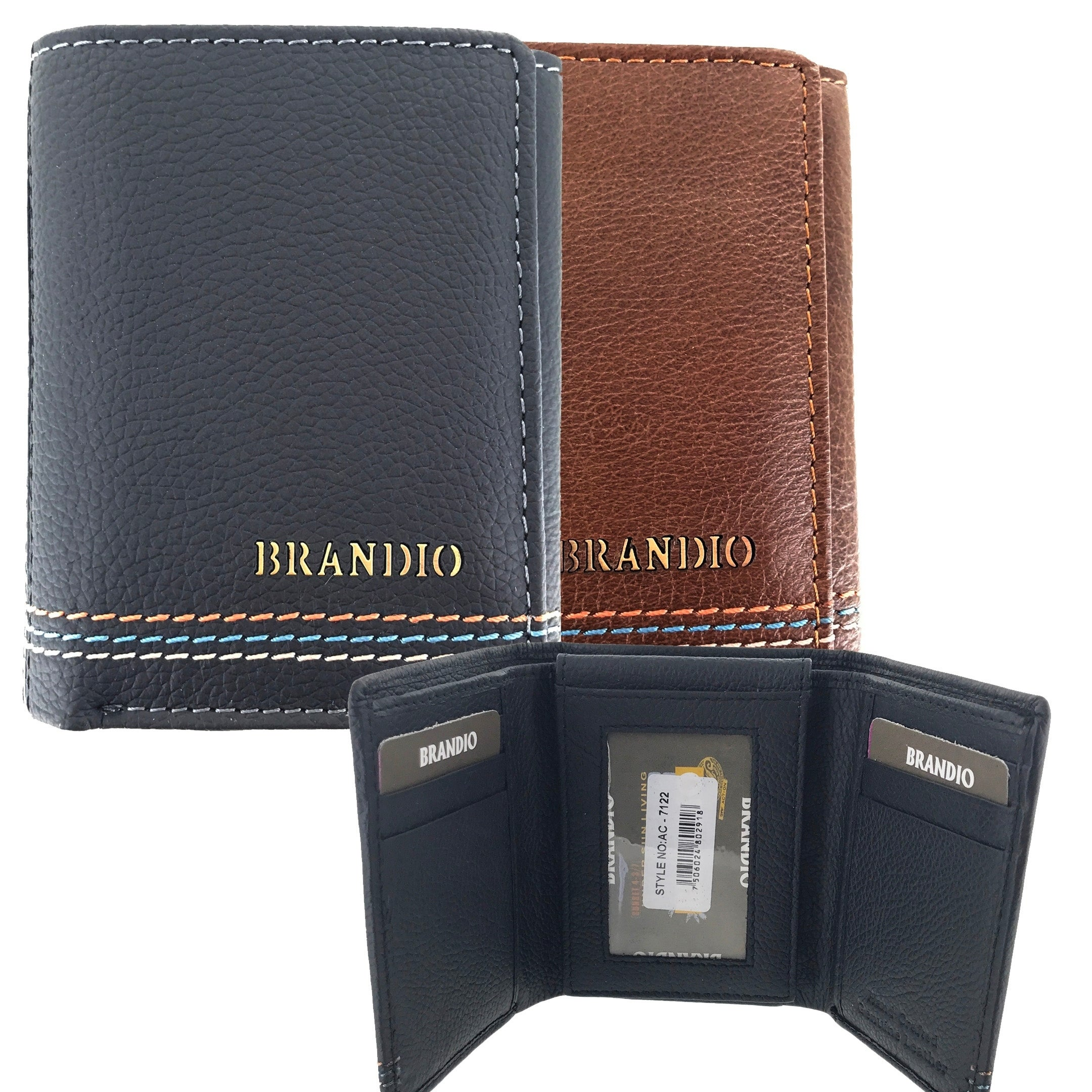 f36345b84453 Faddism Mens Leather Simplicity Flipout ID Trifold Hybrid Wallet