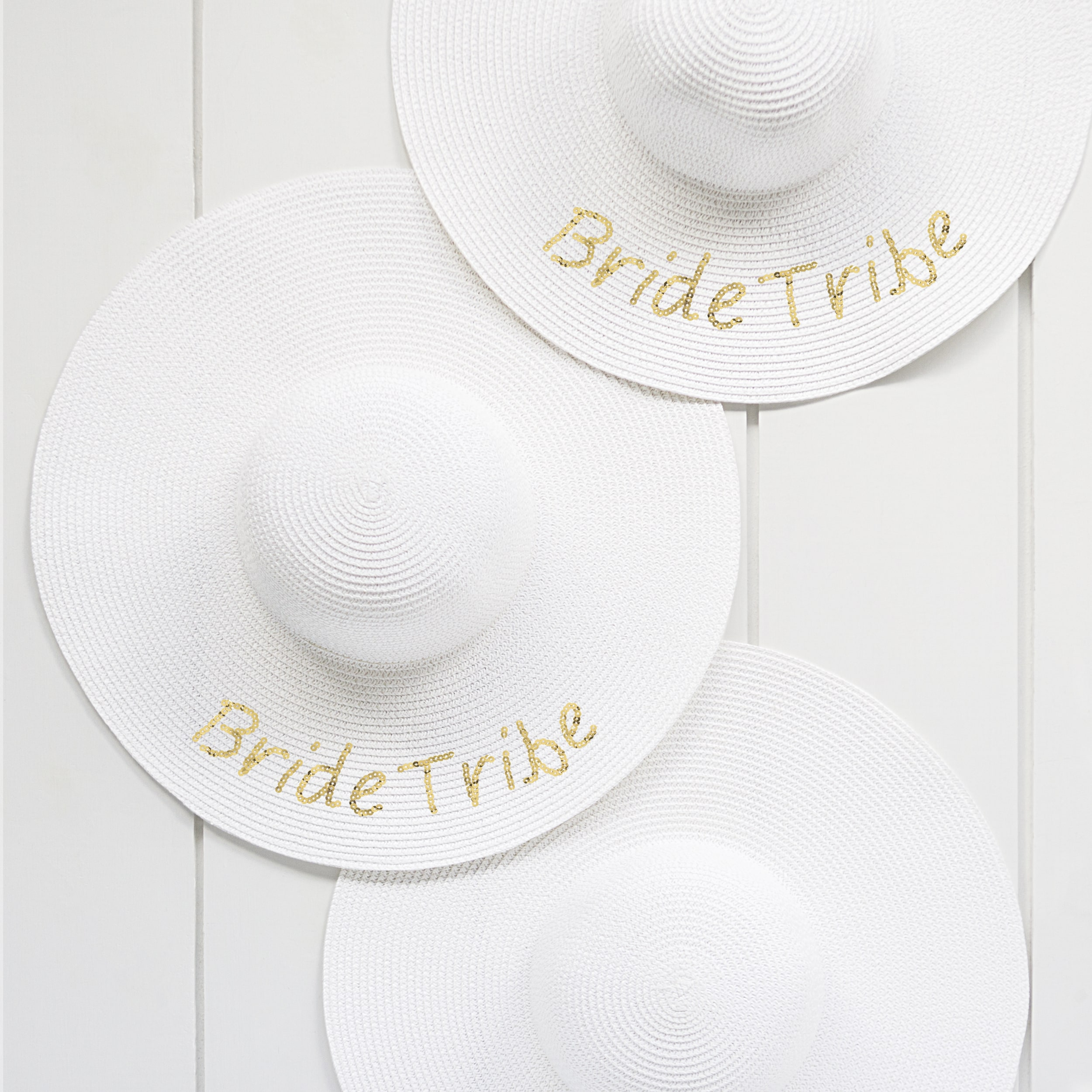 Shop Gold Sequin Bride   Bride Tribe Sun Hats - White - Free Shipping On  Orders Over  45 - Overstock - 18151807 4d0fbc957e6