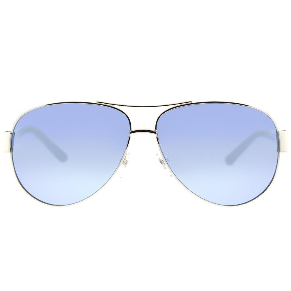 96d40db8f9 Shop Tory Burch Aviator TY 6057 324322 Womens Silver Frame Blue Flash  Mirrored Polarized Lens Sunglasses - Free Shipping Today - Overstock -  18151823