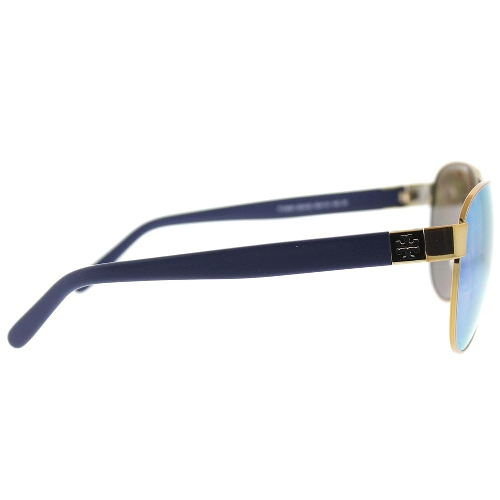 9a6fcc5fbf Shop Tory Burch Aviator TY 6051 304122 Womens Gold Frame Blue Flash  Mirrored Polarized Lens Sunglasses - Free Shipping Today - Overstock -  18151824