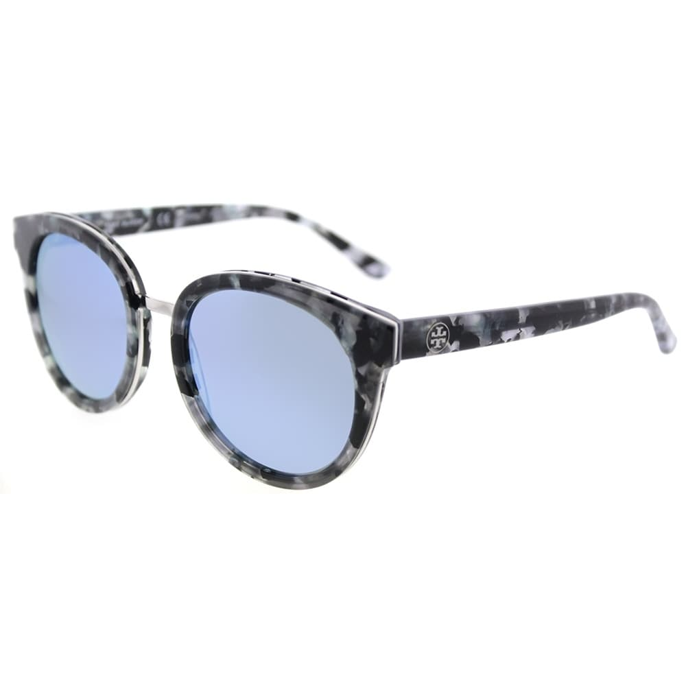 23ff519c1ee0 Shop Tory Burch Phantos TY 7062 168522 Womens Black Pearl Tort Frame Blue  Flash Mirrored Polarized Lens Sunglasses - Free Shipping Today - Overstock  - ...