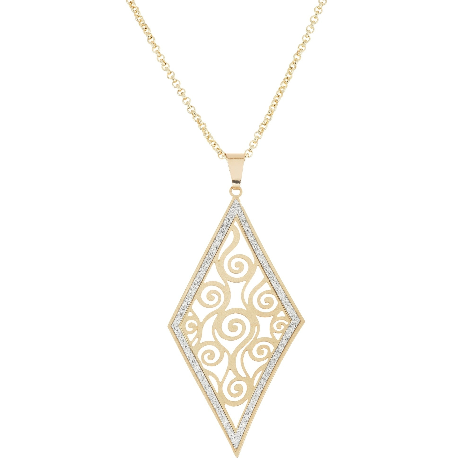 Isla simone 14k gold plated swirl cut out diamond shaped pendant isla simone 14k gold plated swirl cut out diamond shaped pendant necklace with sparkle finish free shipping on orders over 45 overstock 24302719 aloadofball Images