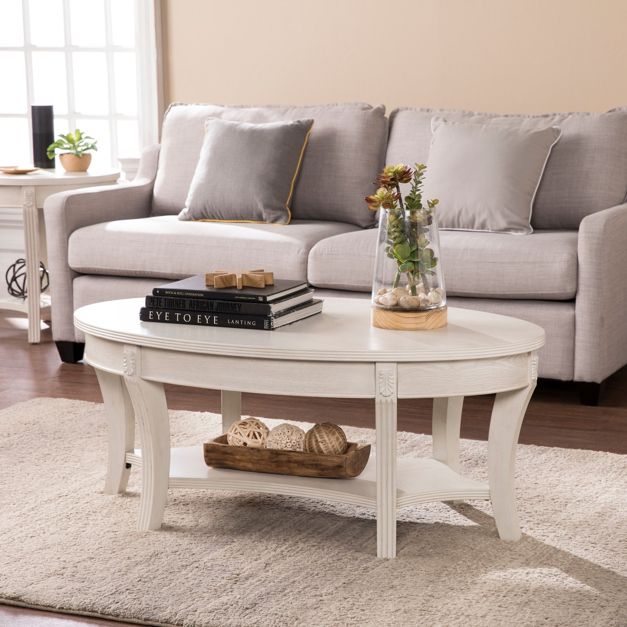 Harper Blvd Marlton Traditional Demilune Whitewash Console Table