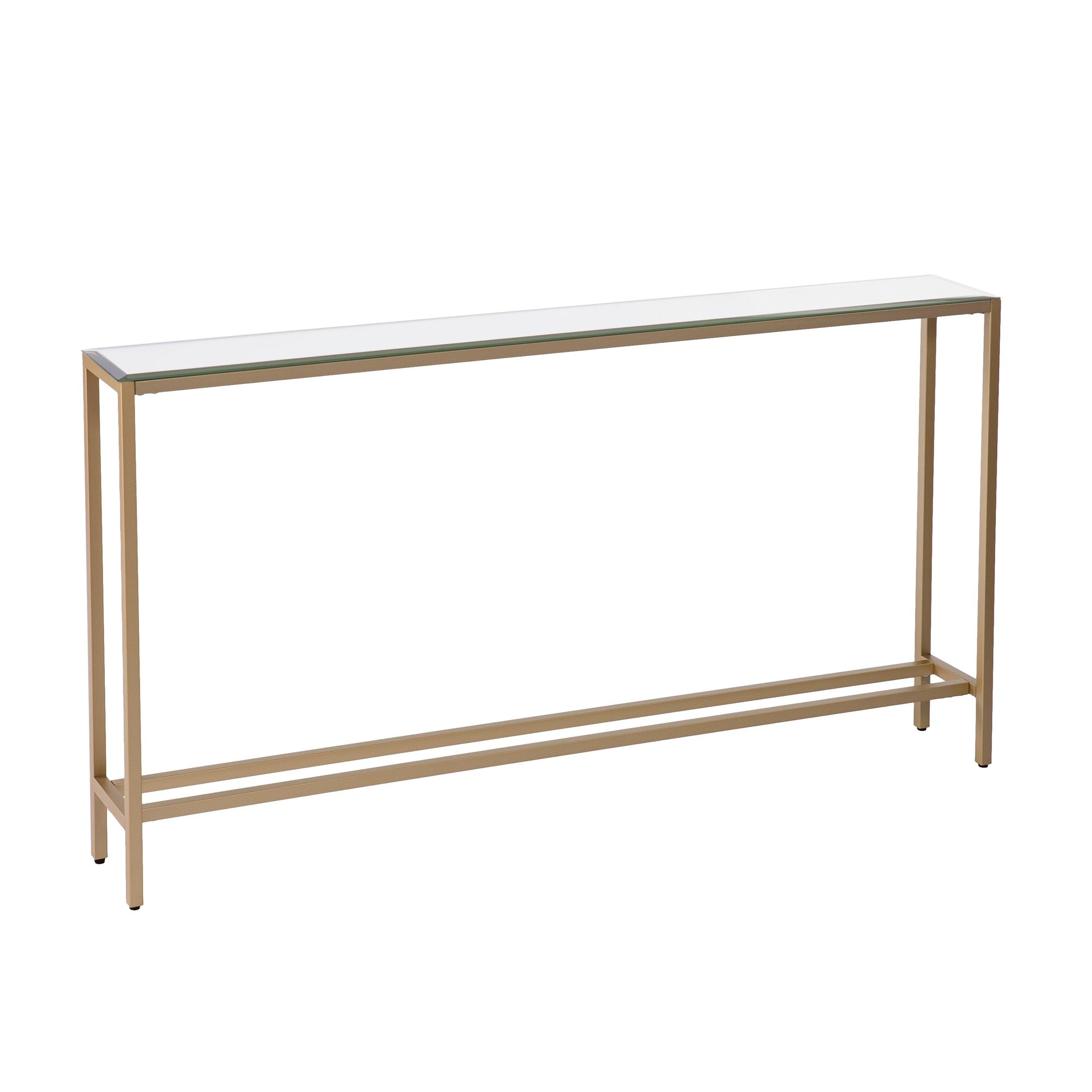 Harper Blvd Dunbar Narrow Long Console Table w Mirrored Top Gold