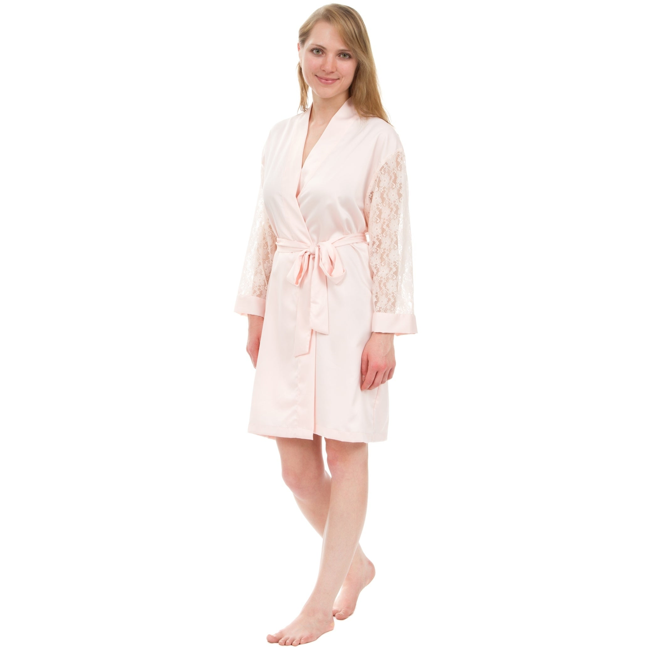 ba5c893cc57 Shop Leisureland Lace Sleeve Matte Satin Knee-Length Robe - Free Shipping  On Orders Over  45 - Overstock - 18158034