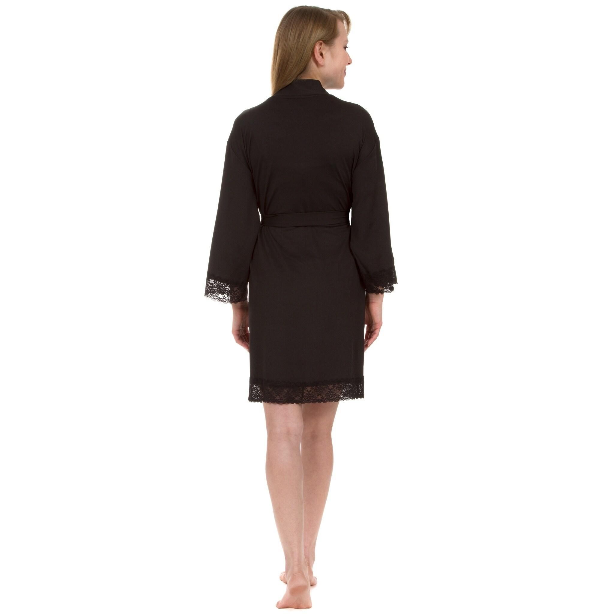 9cba72afa6c Shop Leisureland Lace Jersey Knee-Length Robe - Free Shipping On ...