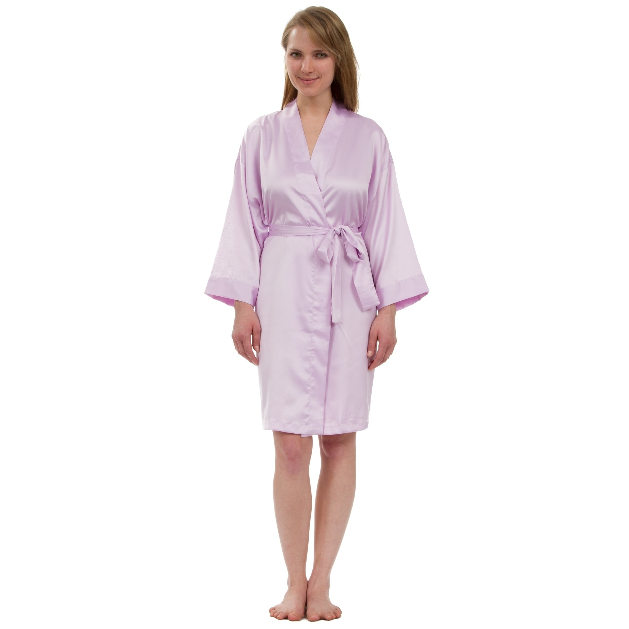 Shop Leisureland Women s Stretch Matte Satin Robe - Free Shipping On Orders  Over  45 - Overstock - 18158038 72fe848d1