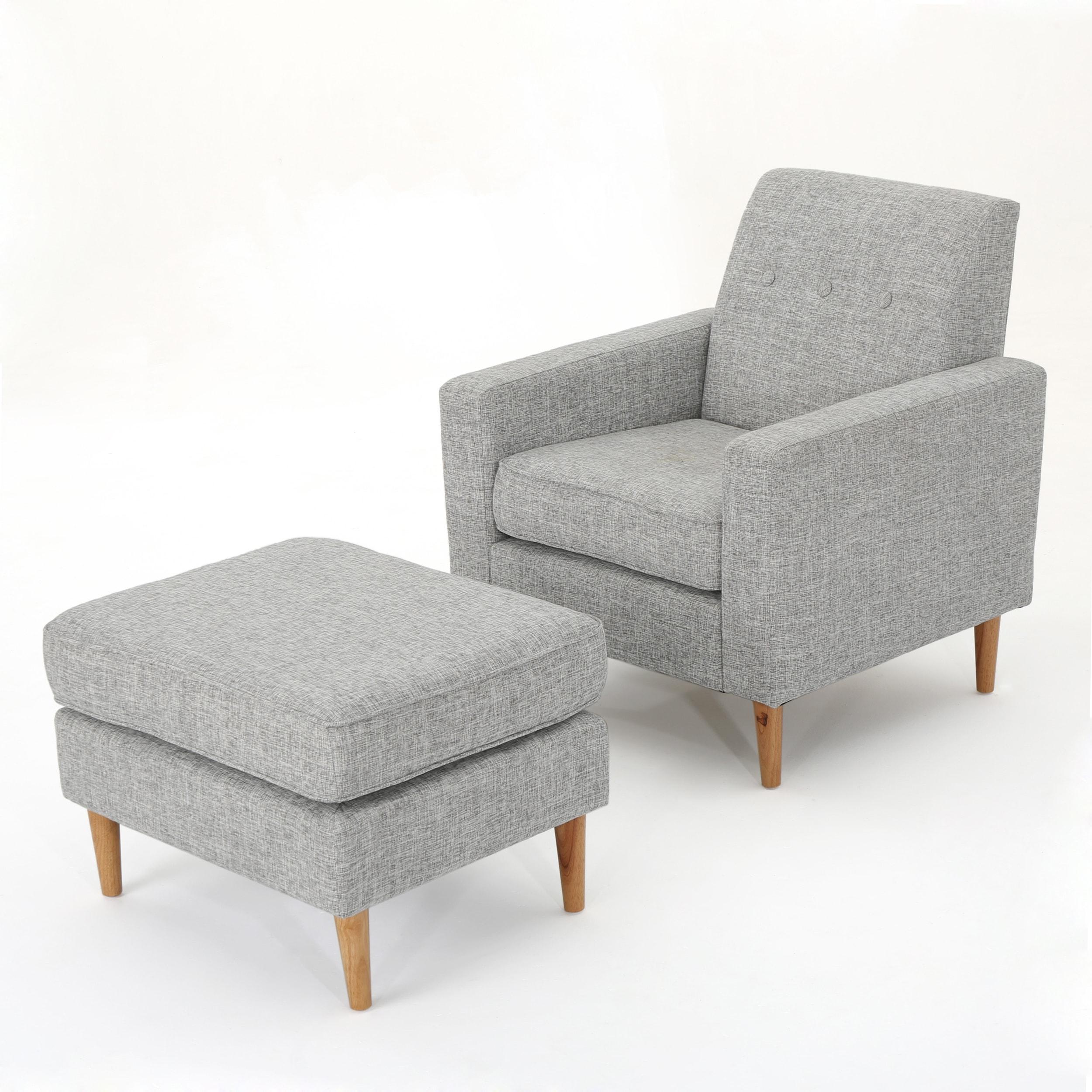 Sawyer Mid Century Modern Fabric Club Chair U0026amp; Ottoman Set By  Christopher Knight Home
