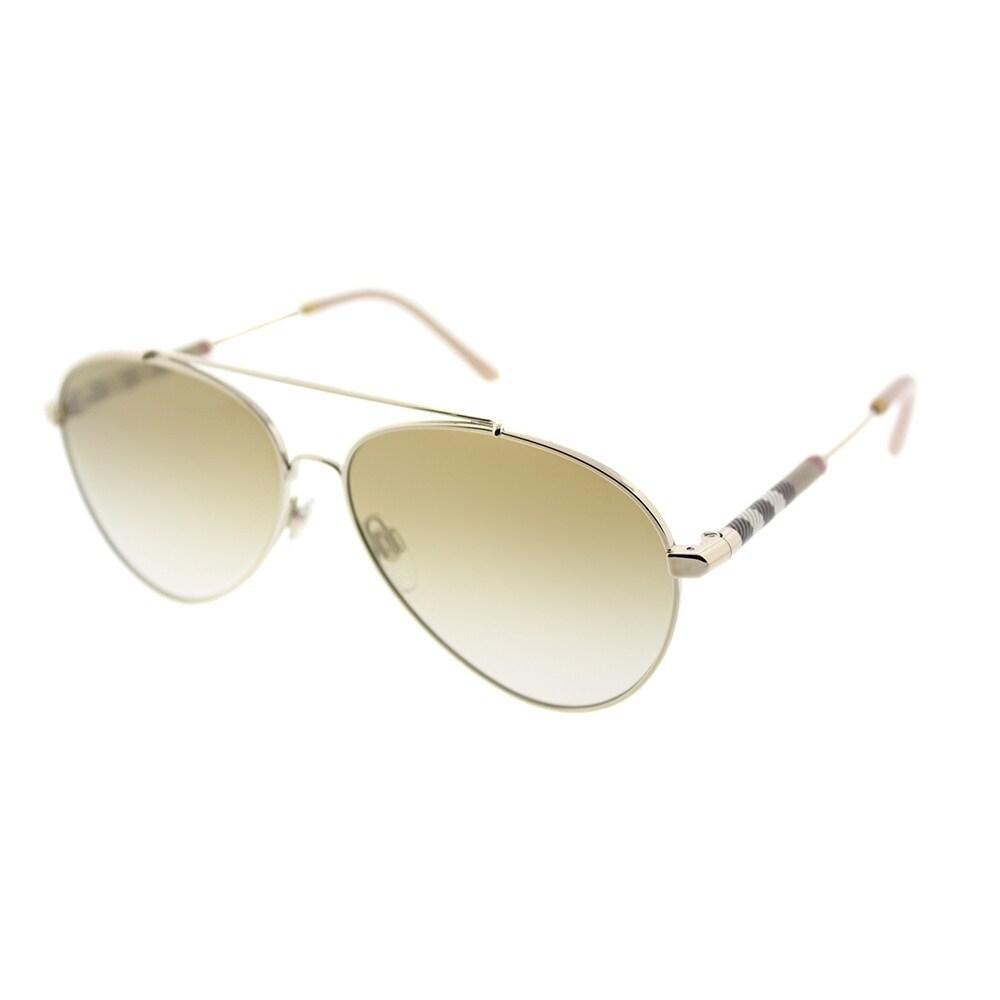 c0f2a307299e Burberry Aviator BE 3092Q 11456E Unisex Light Gold Frame Gold Mirror Lens  Sunglasses