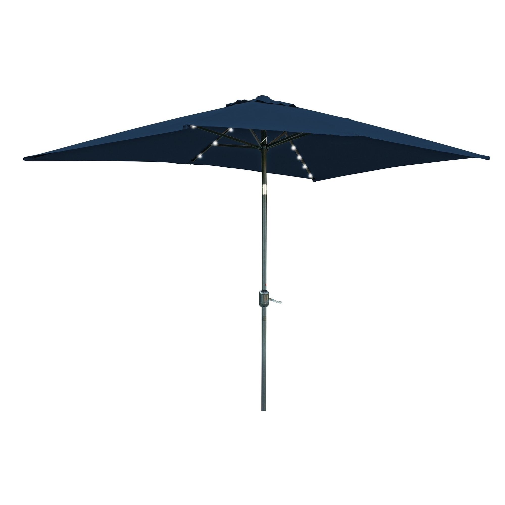Shop Rectangular Solar Powered LED Lighted Patio Umbrella   10u0027 X 6.5u0027   By  Trademark Innovations   Free Shipping Today   Overstock.com   18160974