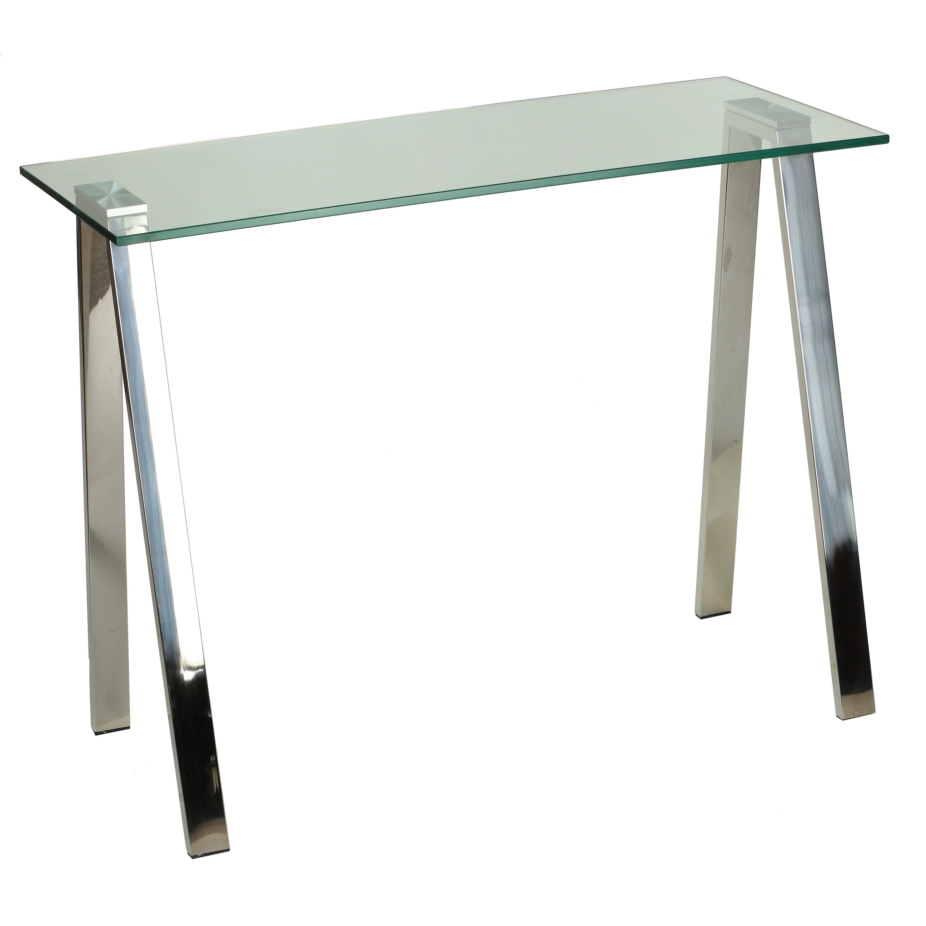 Shop Cortesi Home Trixie Glass Top Desk / Console Table with ...