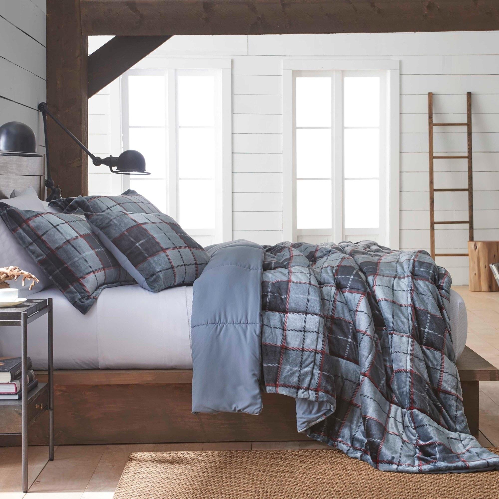 microfiber kitchen comforter ultra room com covers bedding amazon multi duvet home my colored set varsity soft dp plaid full king