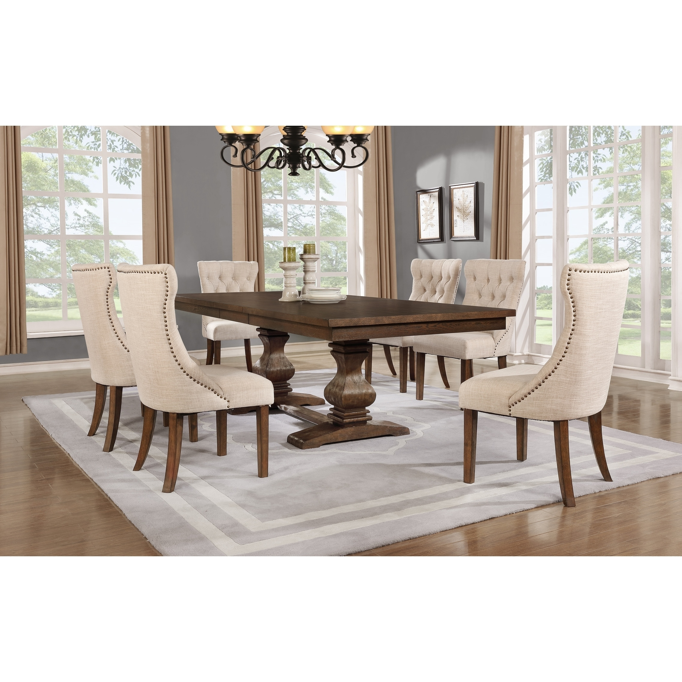 Shop best quality furniture 7 piece walnut extension dining table set free shipping today overstock com 18177529