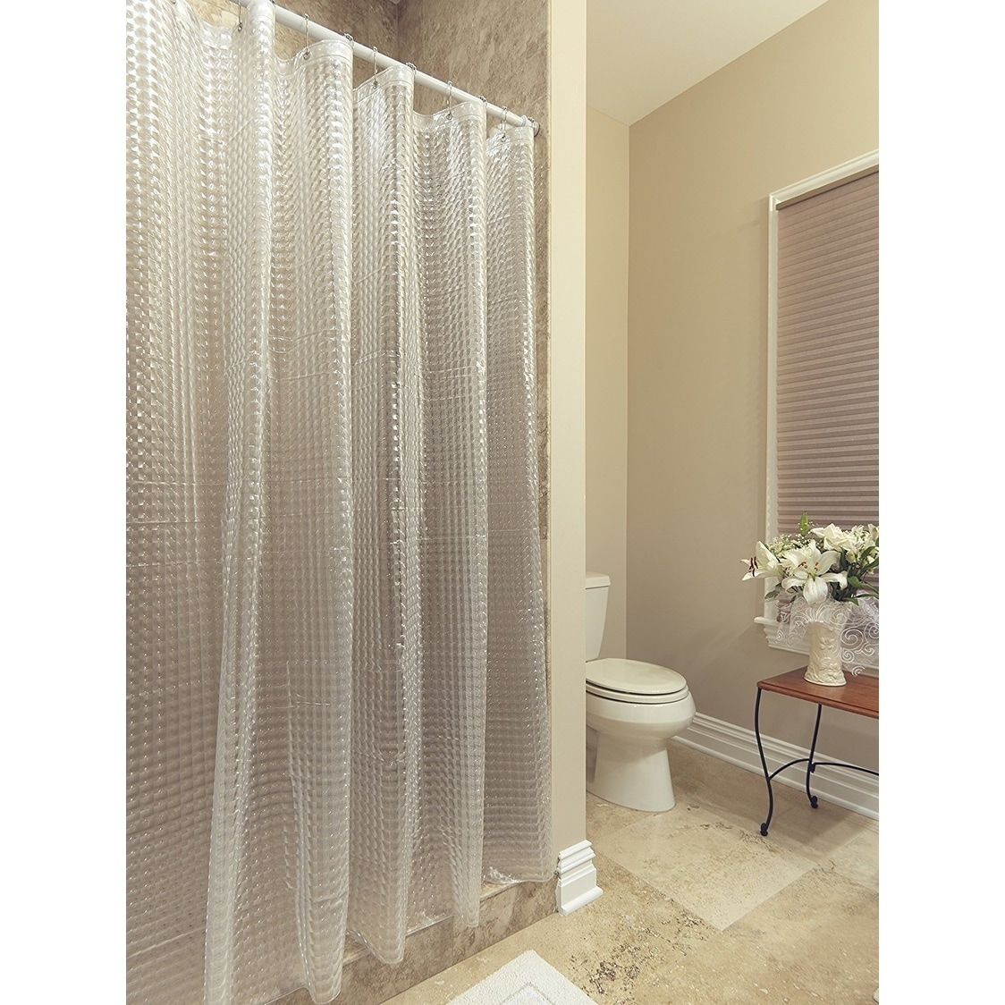 Shop Ottomanson Durable Heavy Duty 10 Gauge Clear Shower Curtain