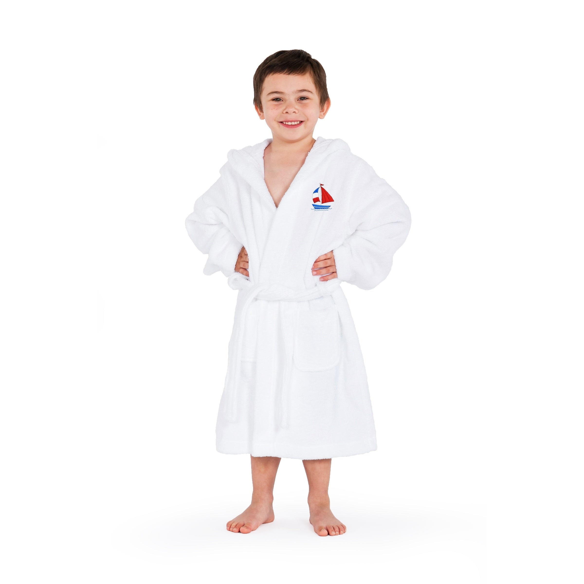 Shop Sweet Kids White Turkish Cotton Hooded Terry Bathrobe with Embroidered  Boat Design - On Sale - Free Shipping Today - Overstock - 18179449 c09cfbb2d