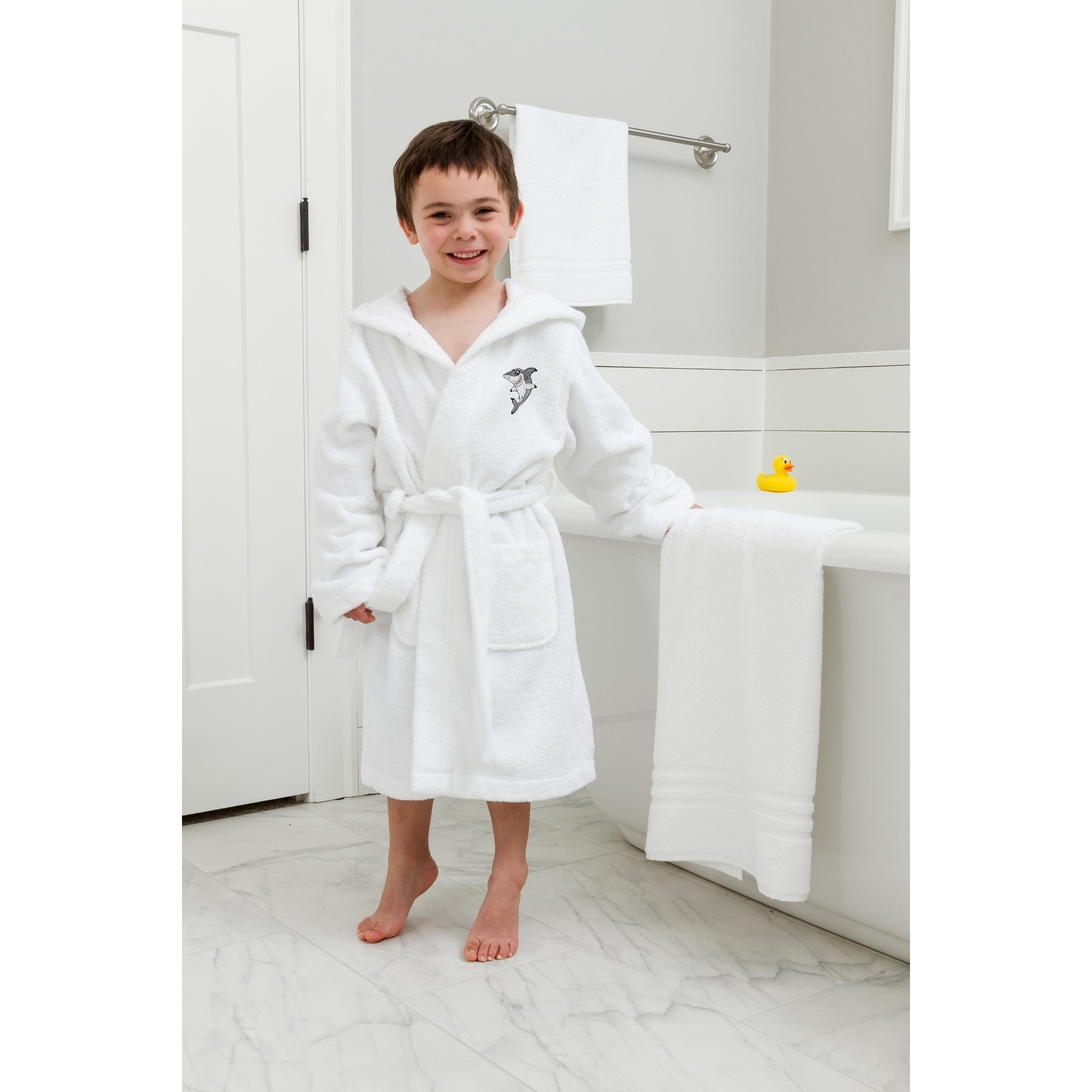 fa9fa72153 Sweet Kids White Turkish Cotton Hooded Terry Bathrobe with Embroidered  Shark Design