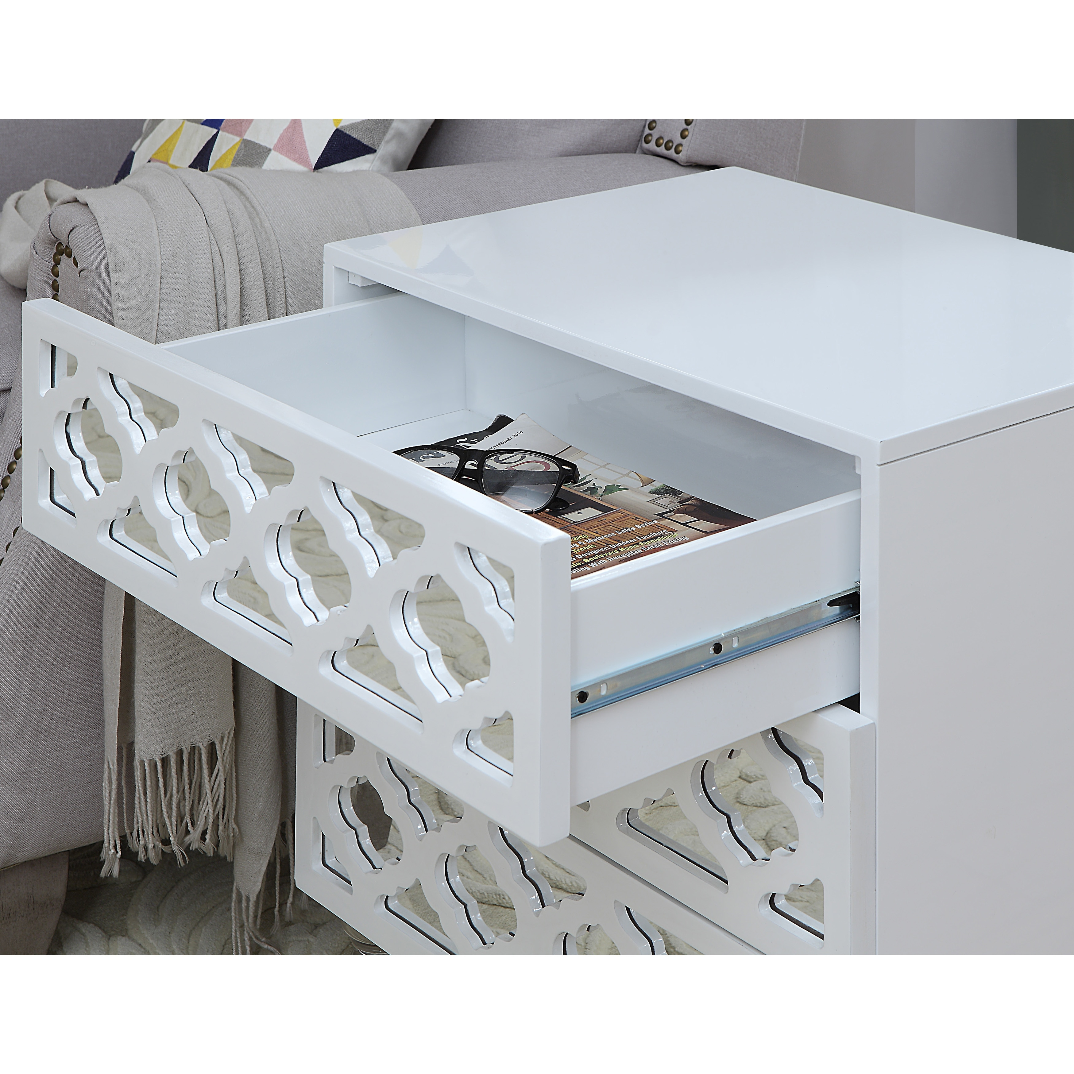 Beau Shop Furniture Of America Brigette Contemporary Acrylic 3 Drawer Side Table    On Sale   Free Shipping Today   Overstock.com   18179632