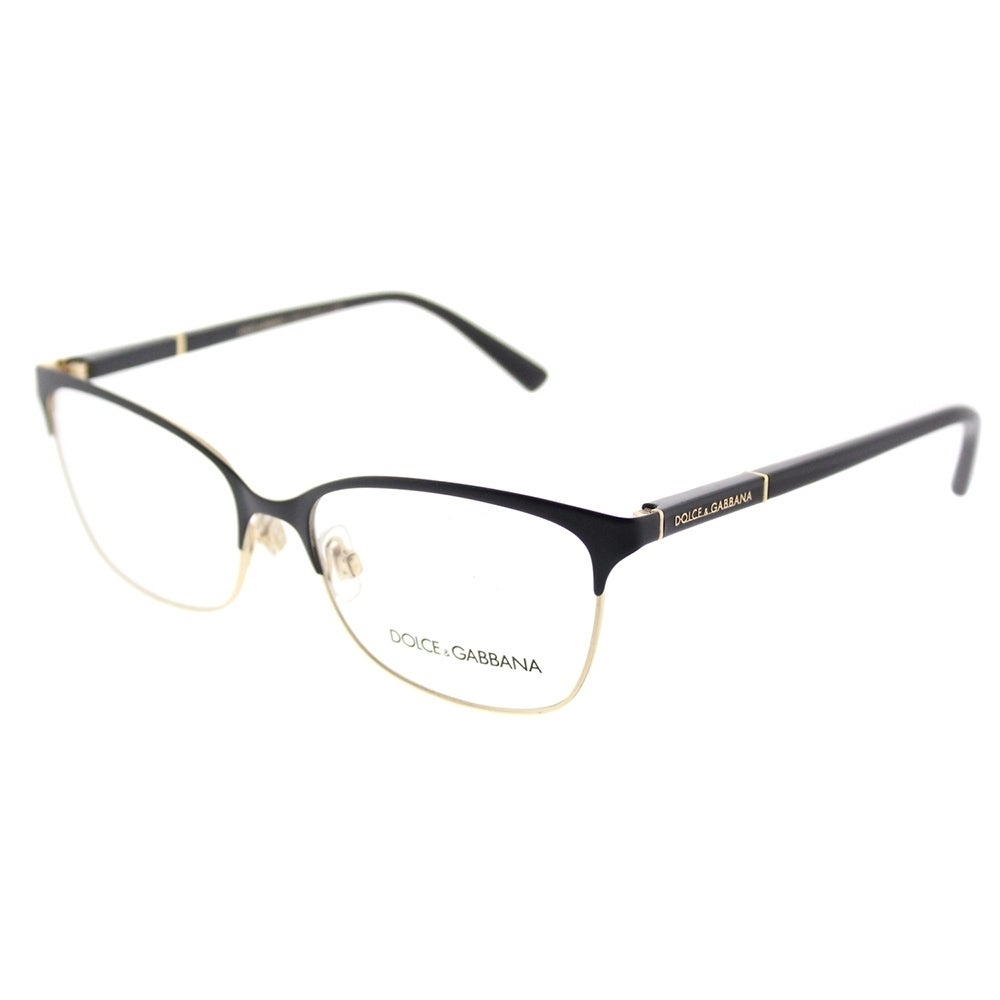 Shop Dolce&Gabbana Rectangle DG 1268 25 Women\'s Black/Gold Frame ...