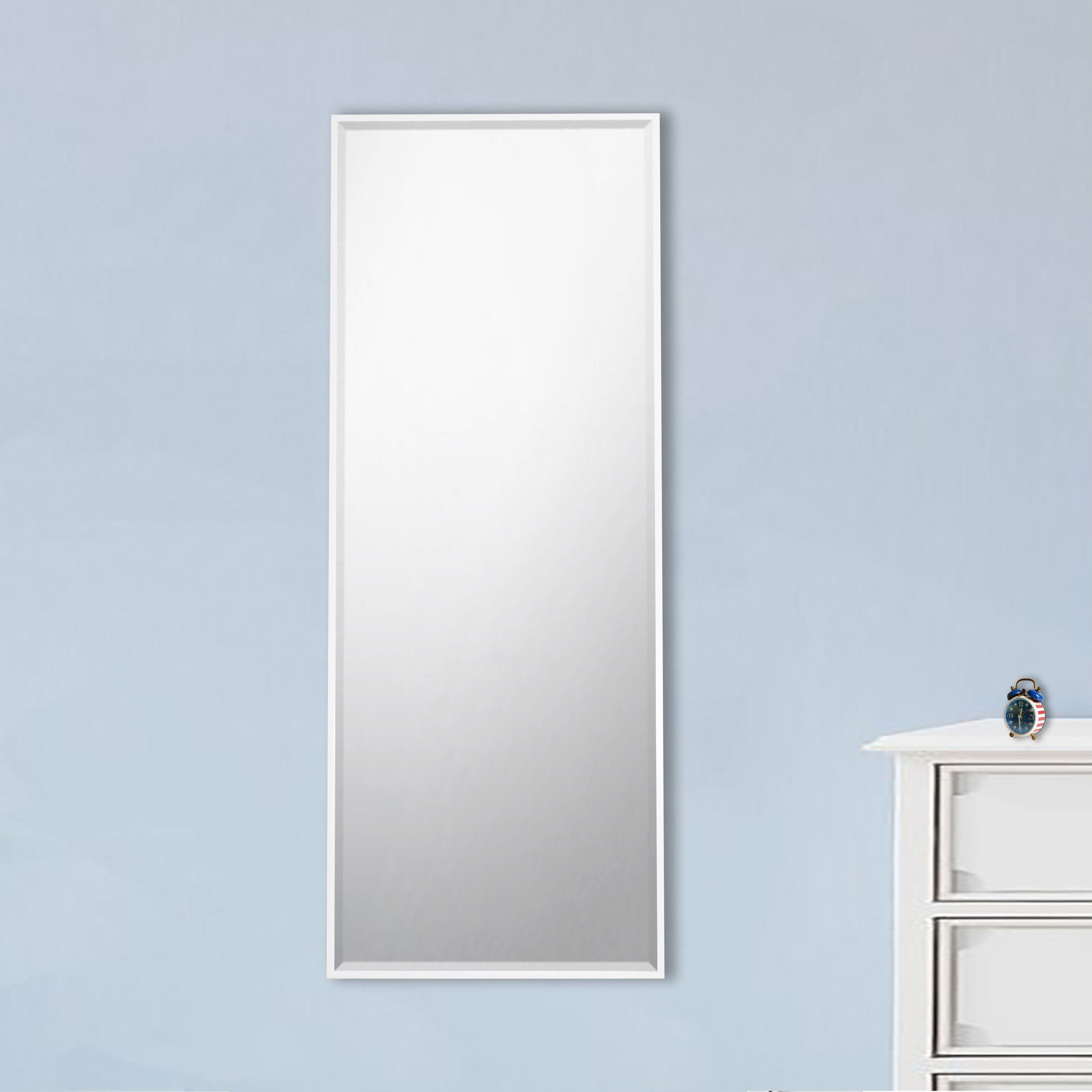 Shop U.S Bright White Metal Framed Beveled Tall Mirror - Free ...