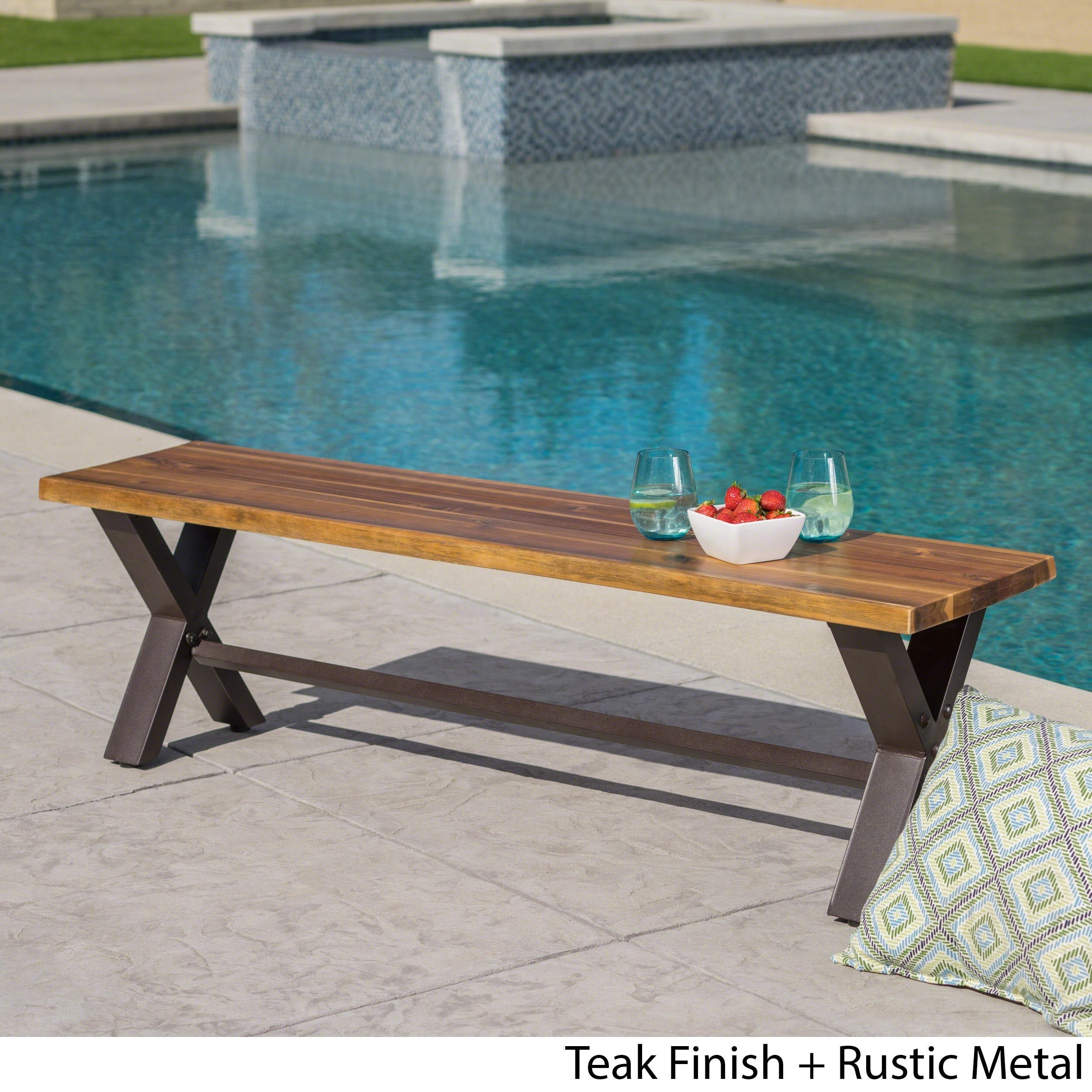 Sanibel Outdoor Acacia Wood Rustic Bench by Christopher Knight Home ...