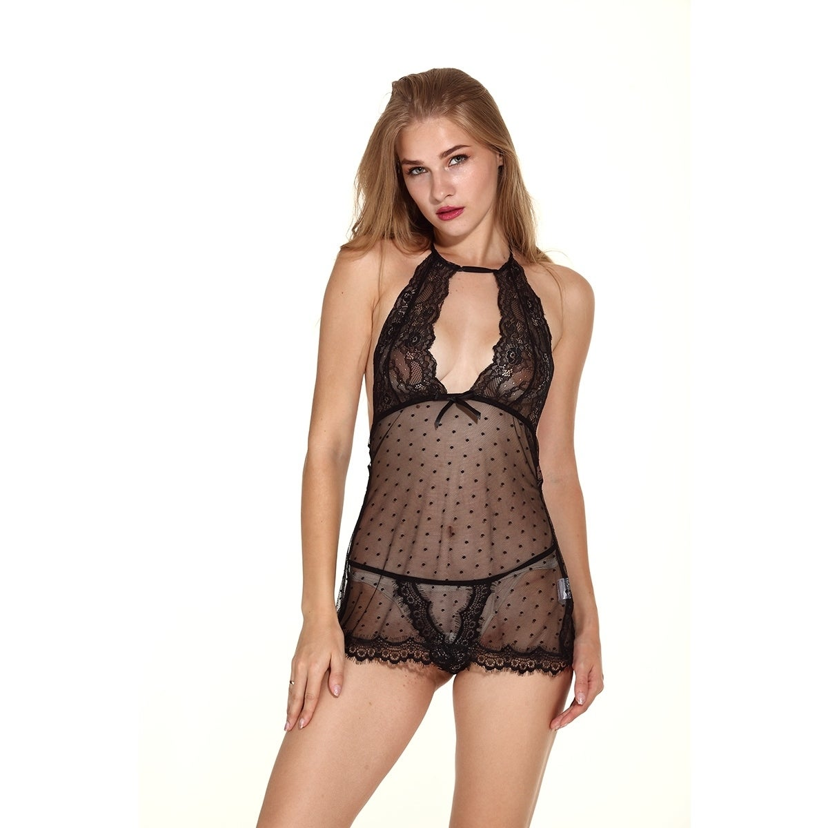 d36894217 Shop Women Sexy Lace Babydoll Lingerie Set Transparent Mesh Chemise  Nightwear - Free Shipping On Orders Over  45 - Overstock - 18183360