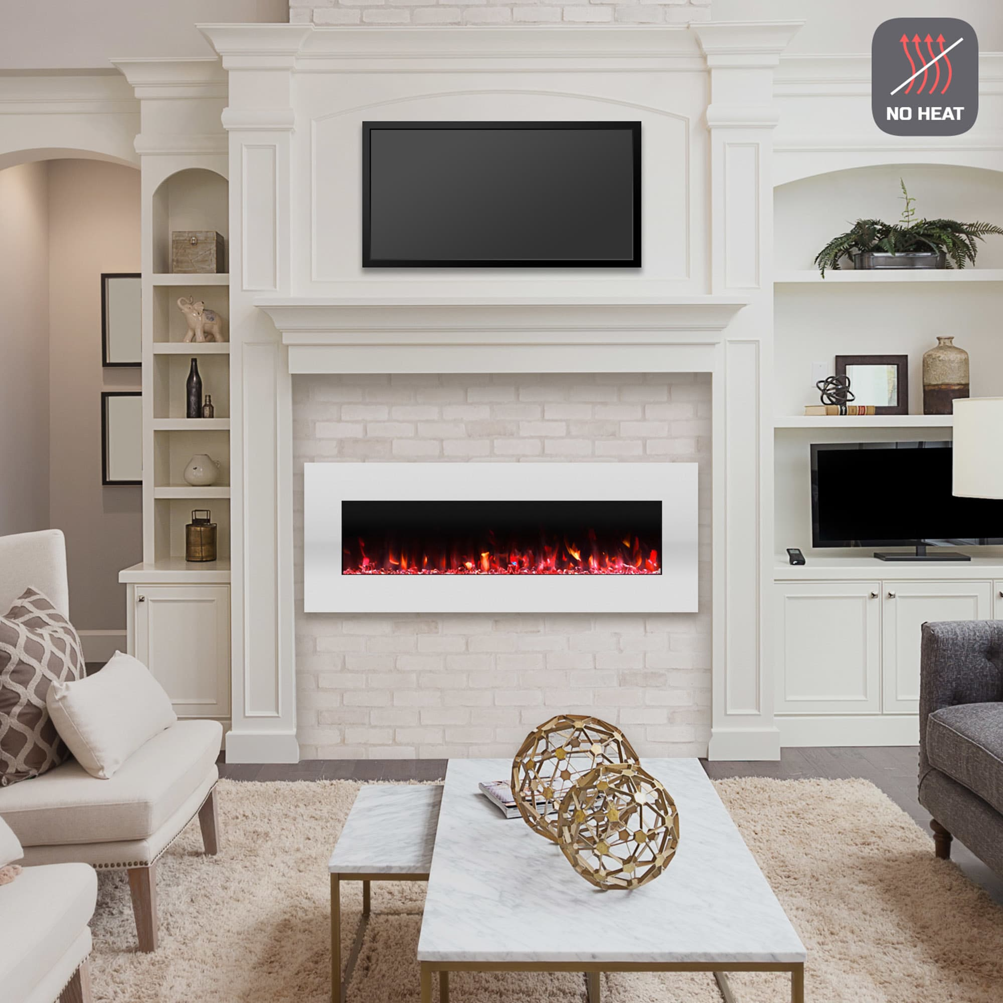 Electric Fireplace-Wall Mounted Color Changing LED Flame, NO HEAT ...