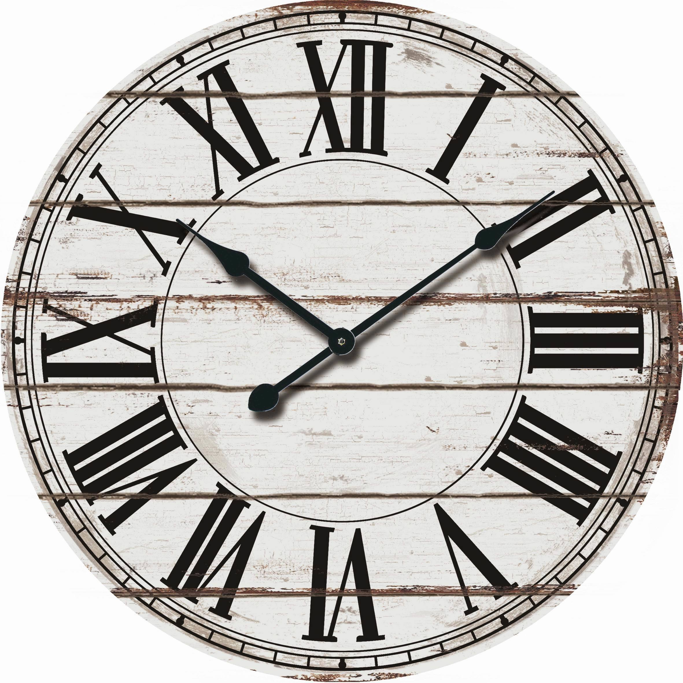 Shop rustic white oversized wood wall clock free shipping today overstock com 18189047